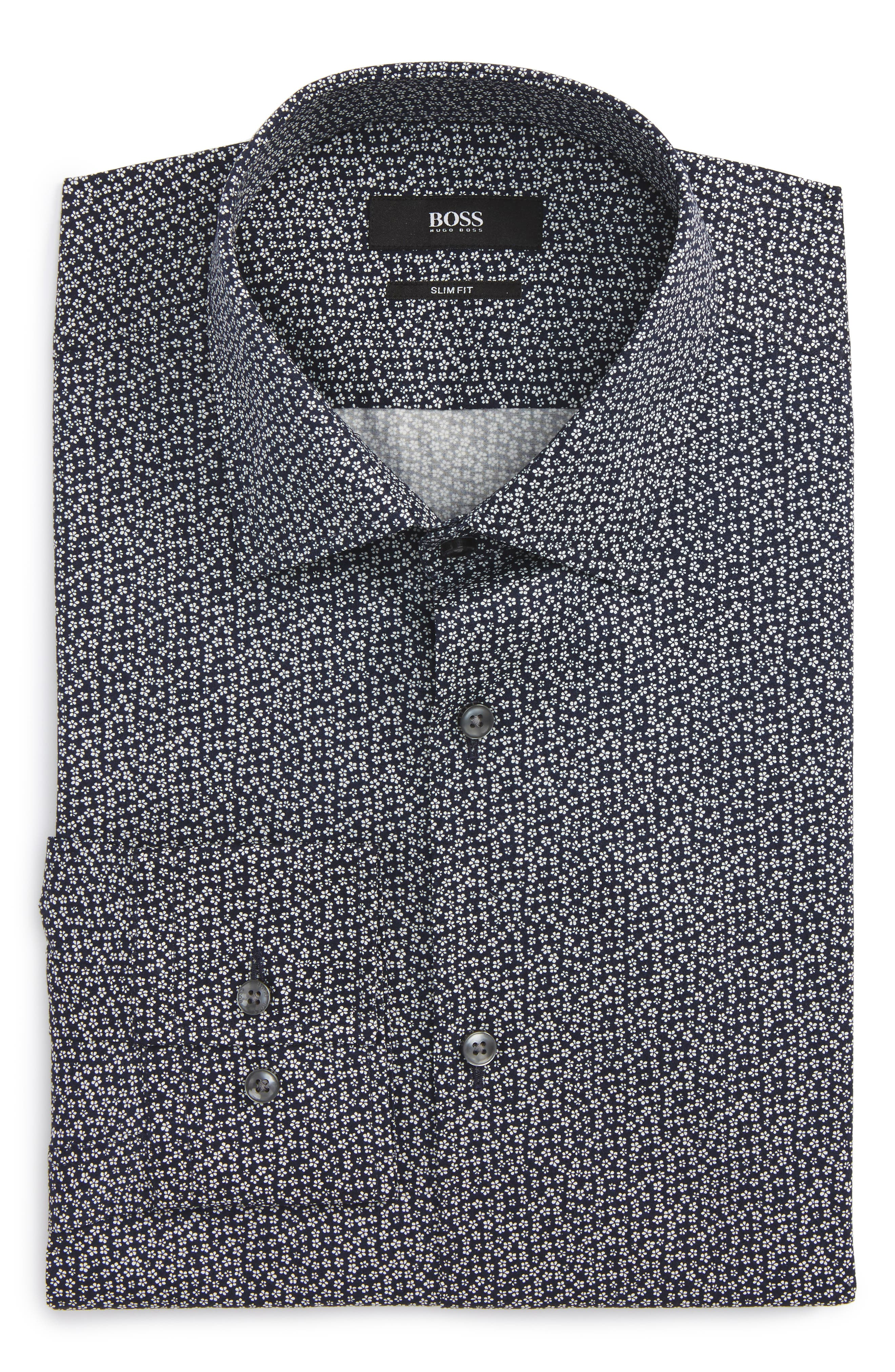 Slim Fit Floral Dress Shirt,                         Main,                         color, Navy