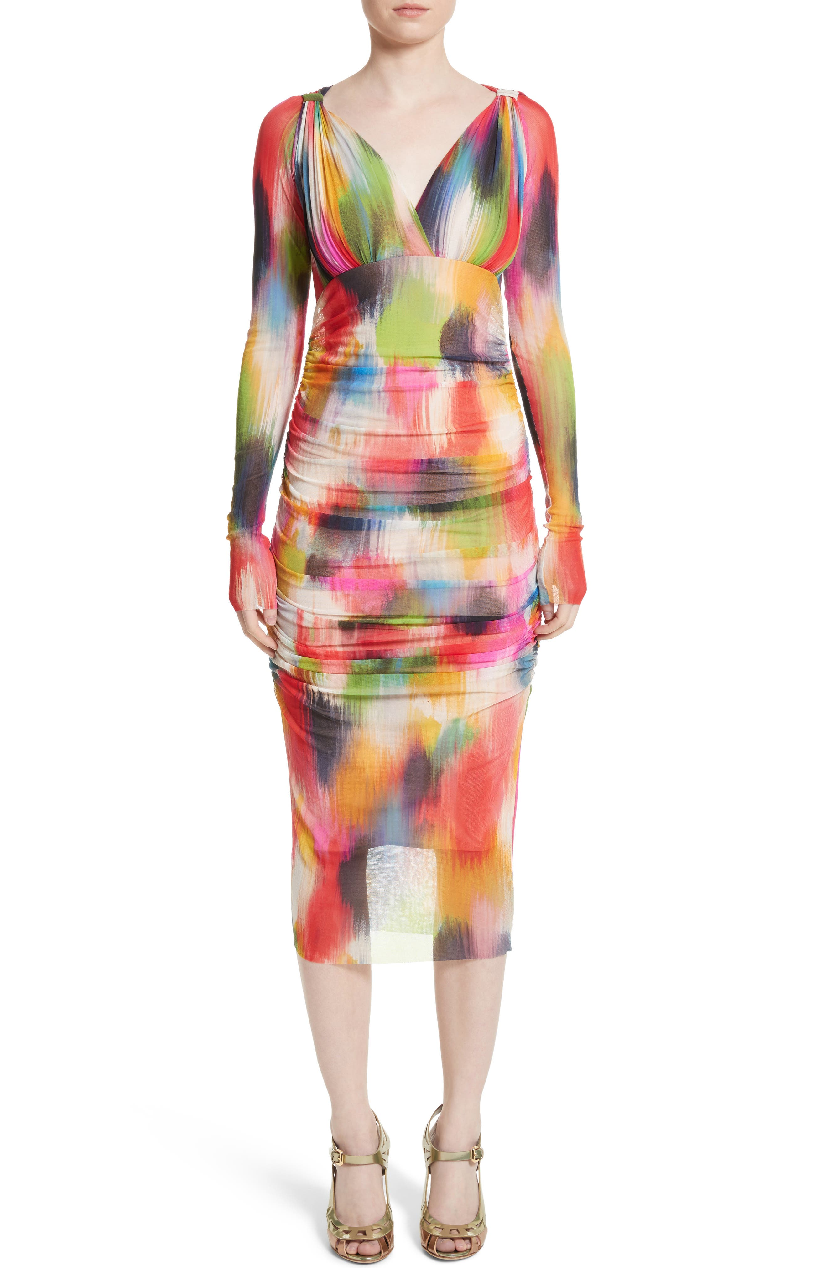 Brushstroke Print Tulle Ruched Dress,                         Main,                         color, Multicolor