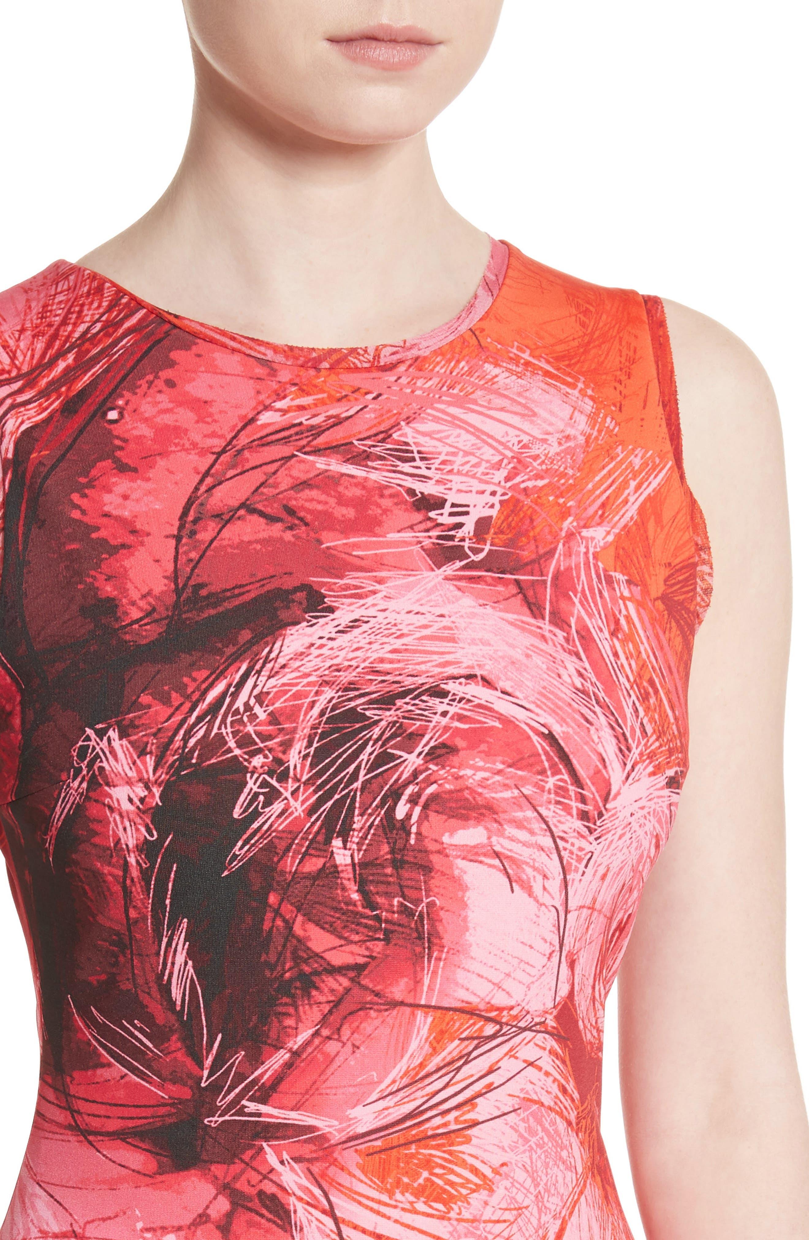 Print Tulle Ruffle Hem Dress,                             Alternate thumbnail 4, color,                             Lima