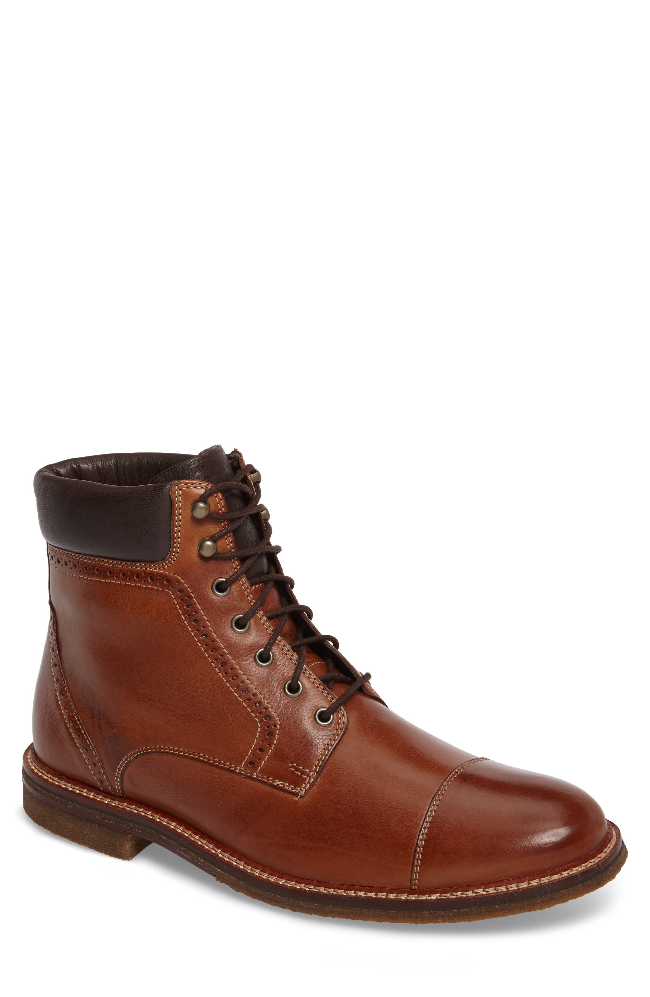Forrester Cap Toe Boot,                         Main,                         color, Tan Leather