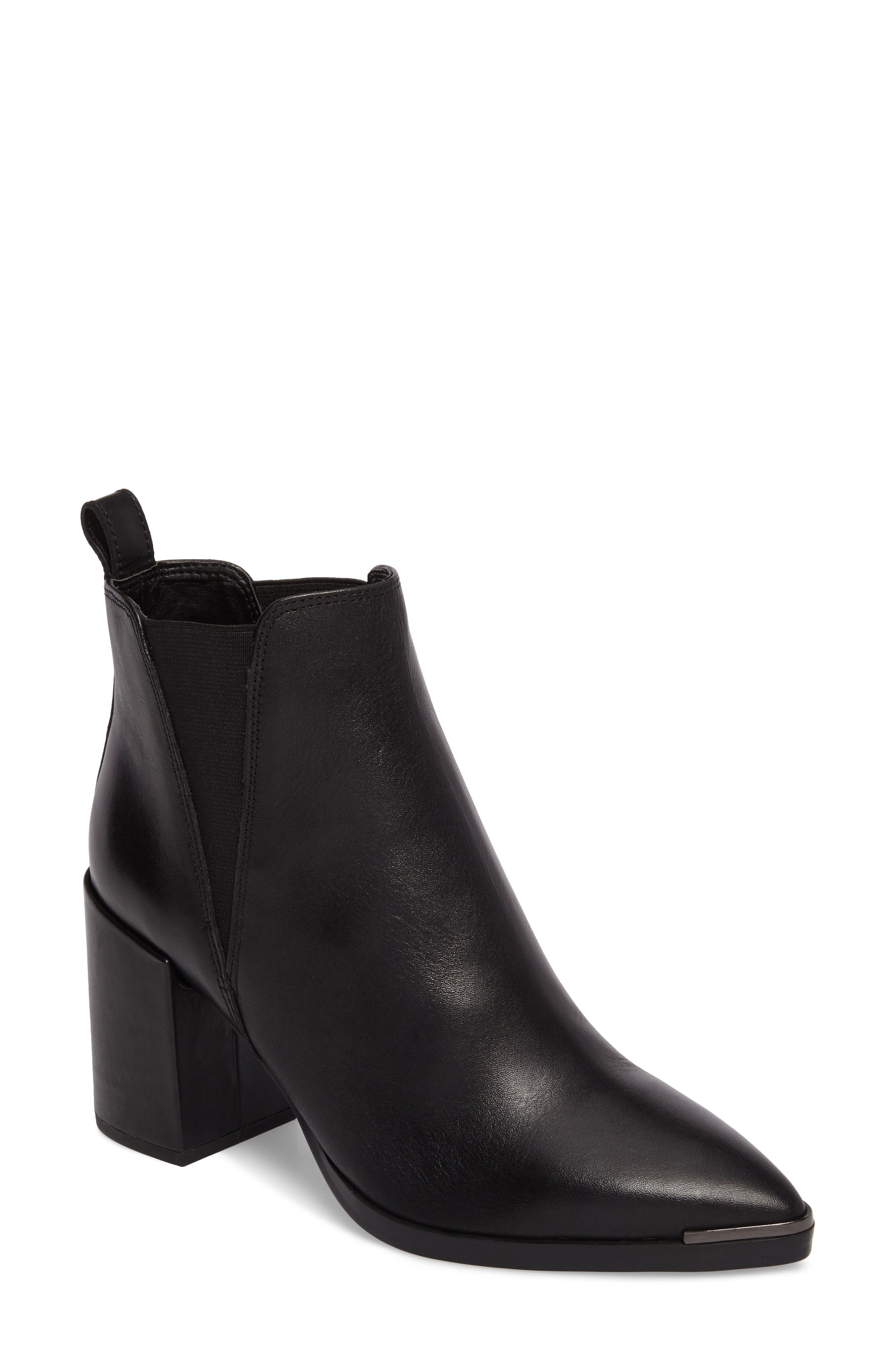 Bello Pointy Toe Bootie,                             Main thumbnail 1, color,                             Black Jetta Leather