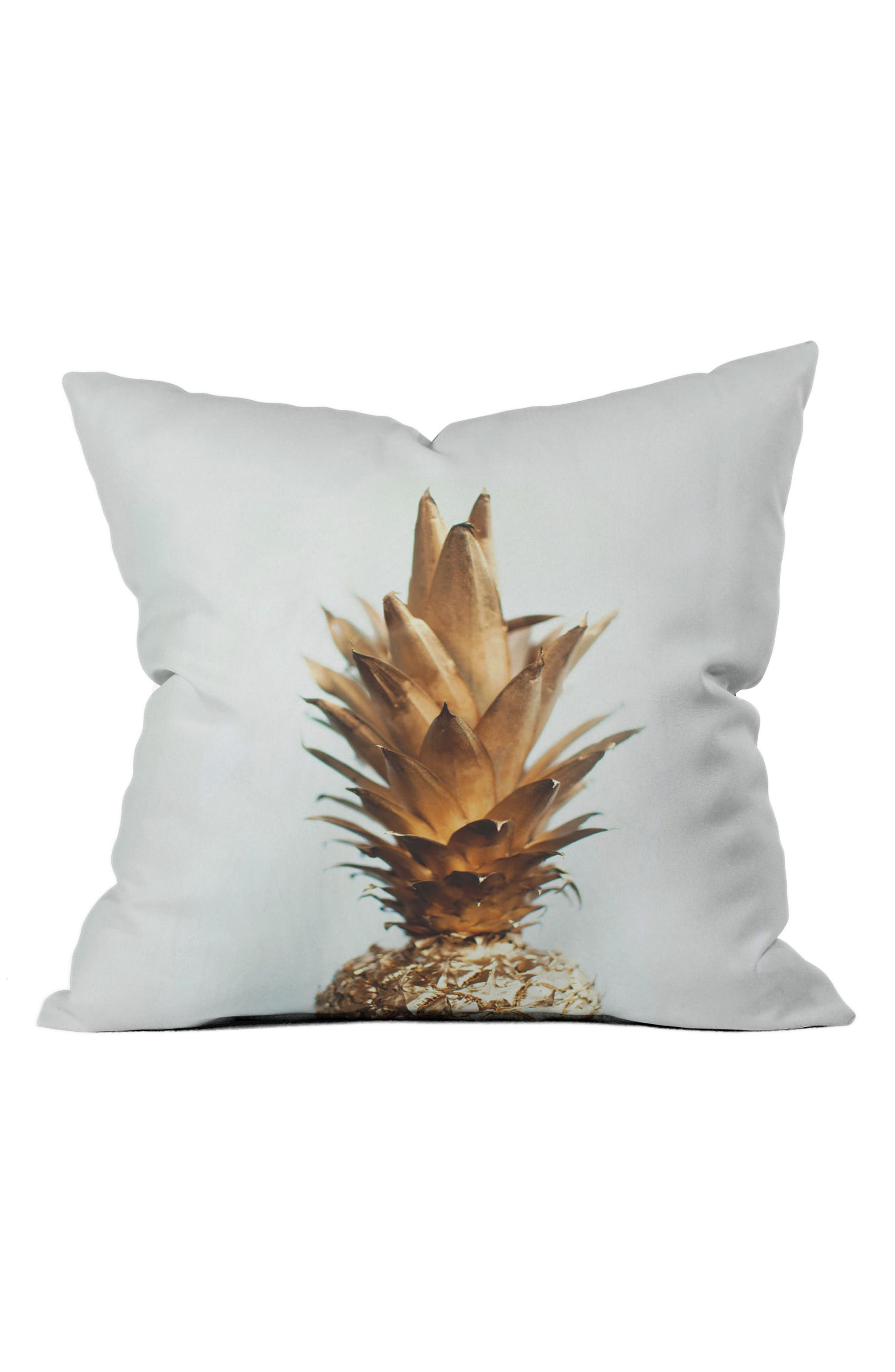 Alternate Image 1 Selected - DENY Designs Gold Pineapple Pillow