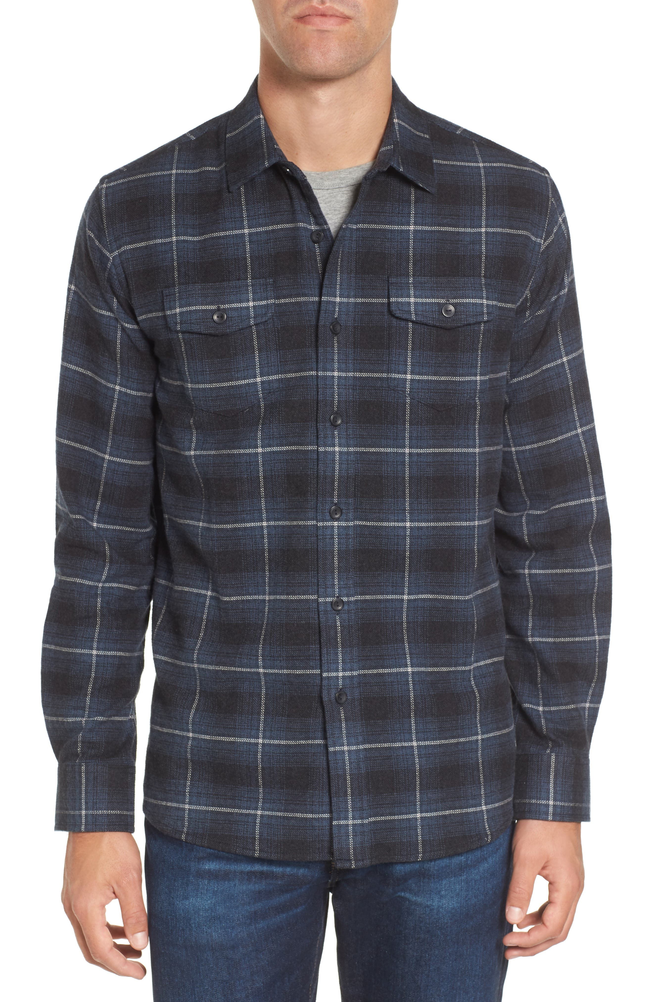 Clarke Heritage Flannel Shirt,                             Main thumbnail 1, color,                             Blue Charcoal