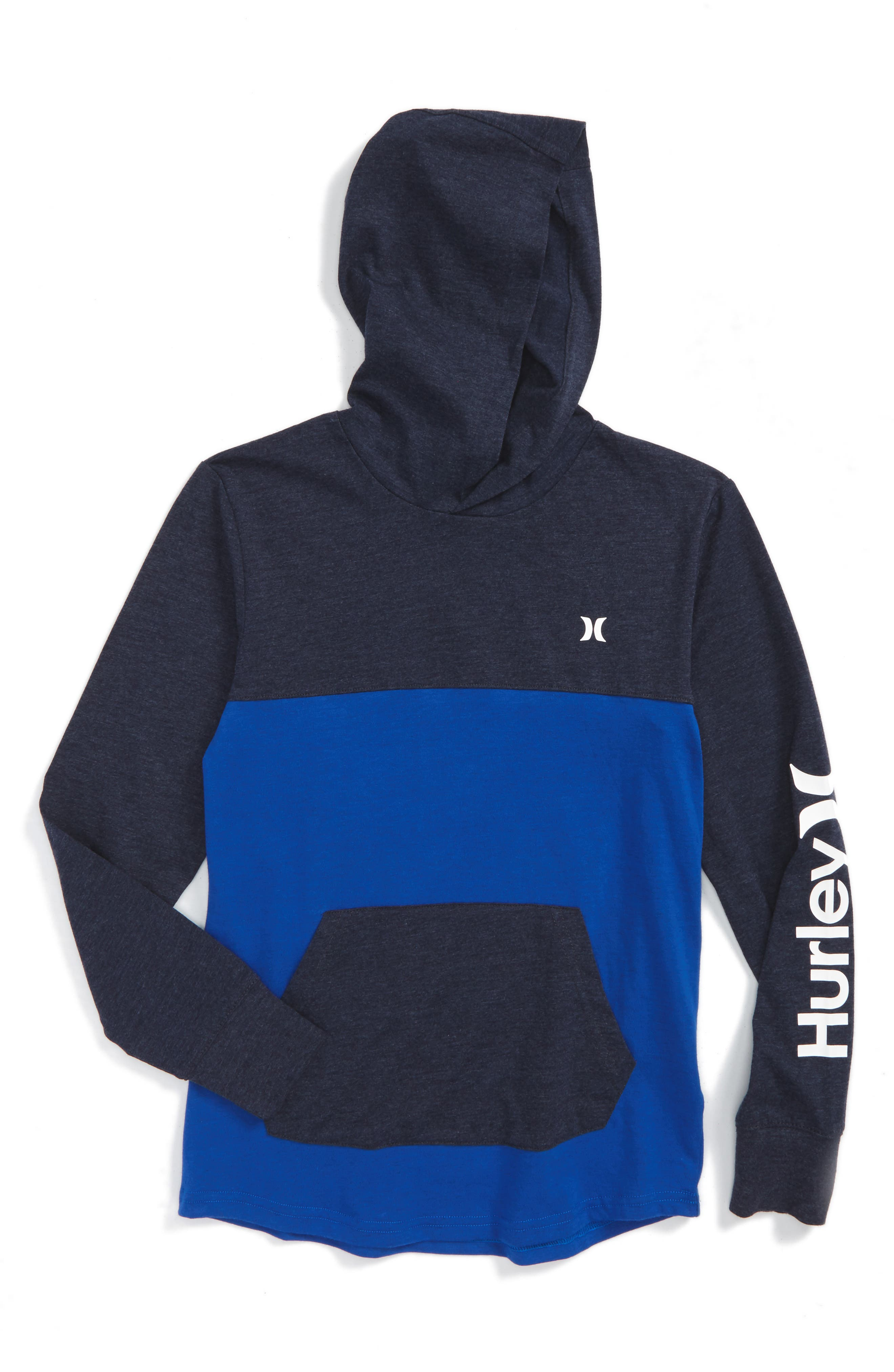 Lagos Dri-FIT Colorblocked Pullover Hoodie,                             Main thumbnail 1, color,                             Obsidian Heather