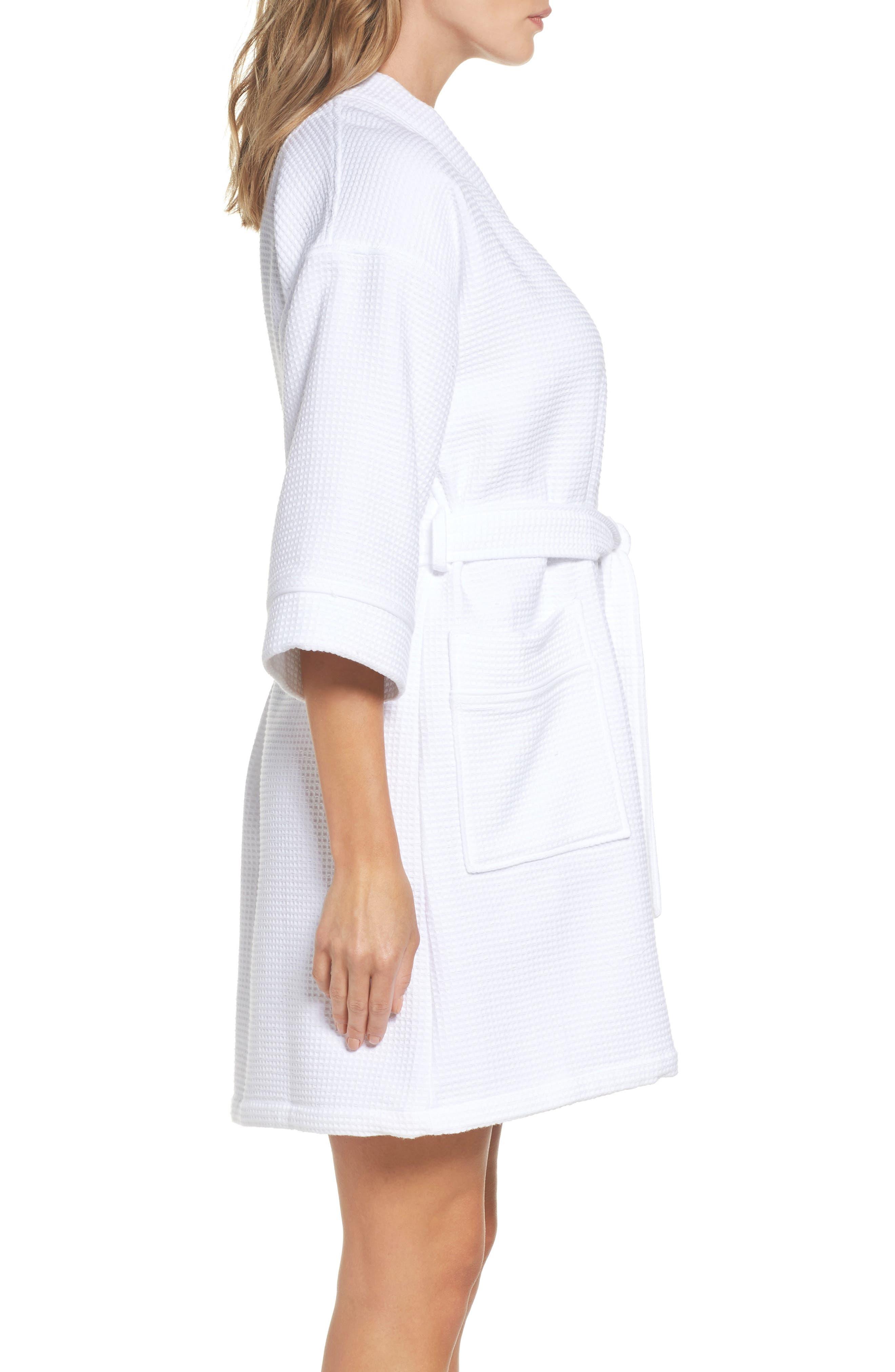Waffle Knit Short Robe,                             Alternate thumbnail 3, color,                             White