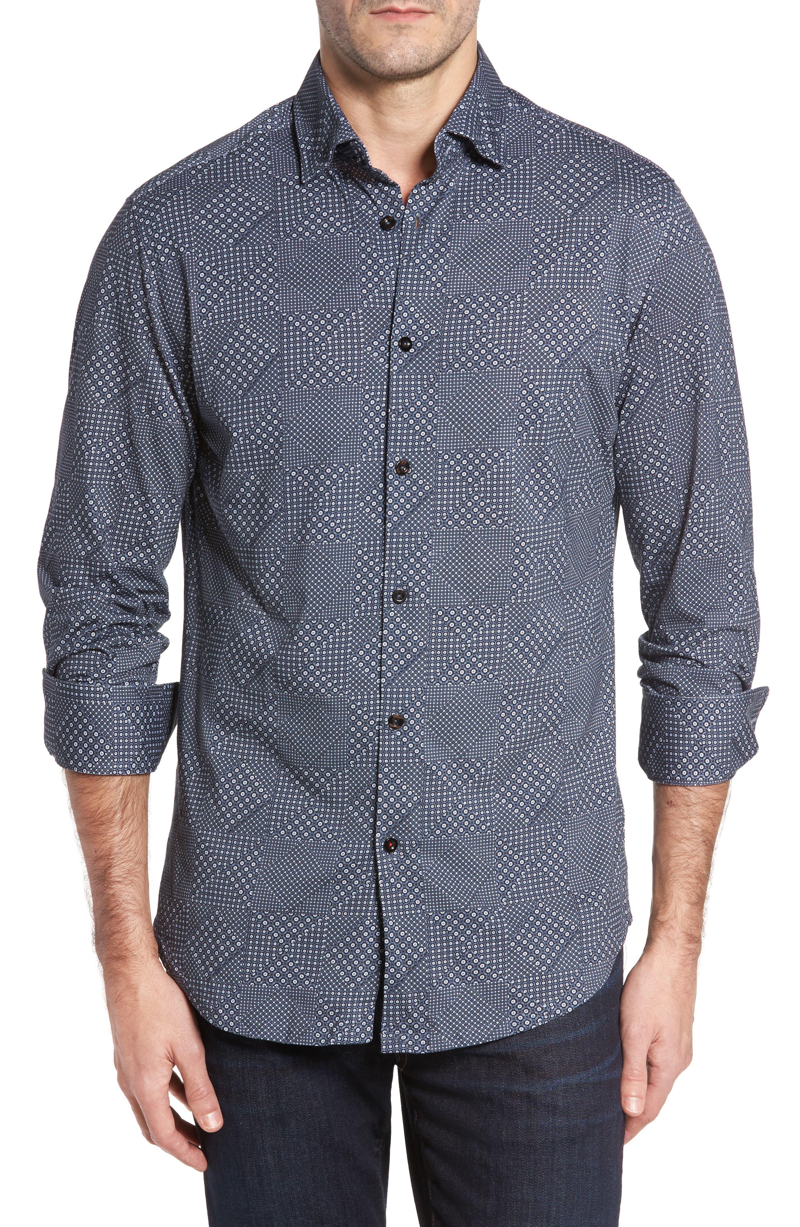 Slim Fit Patchwork Print Knit Sport Shirt,                         Main,                         color, Black