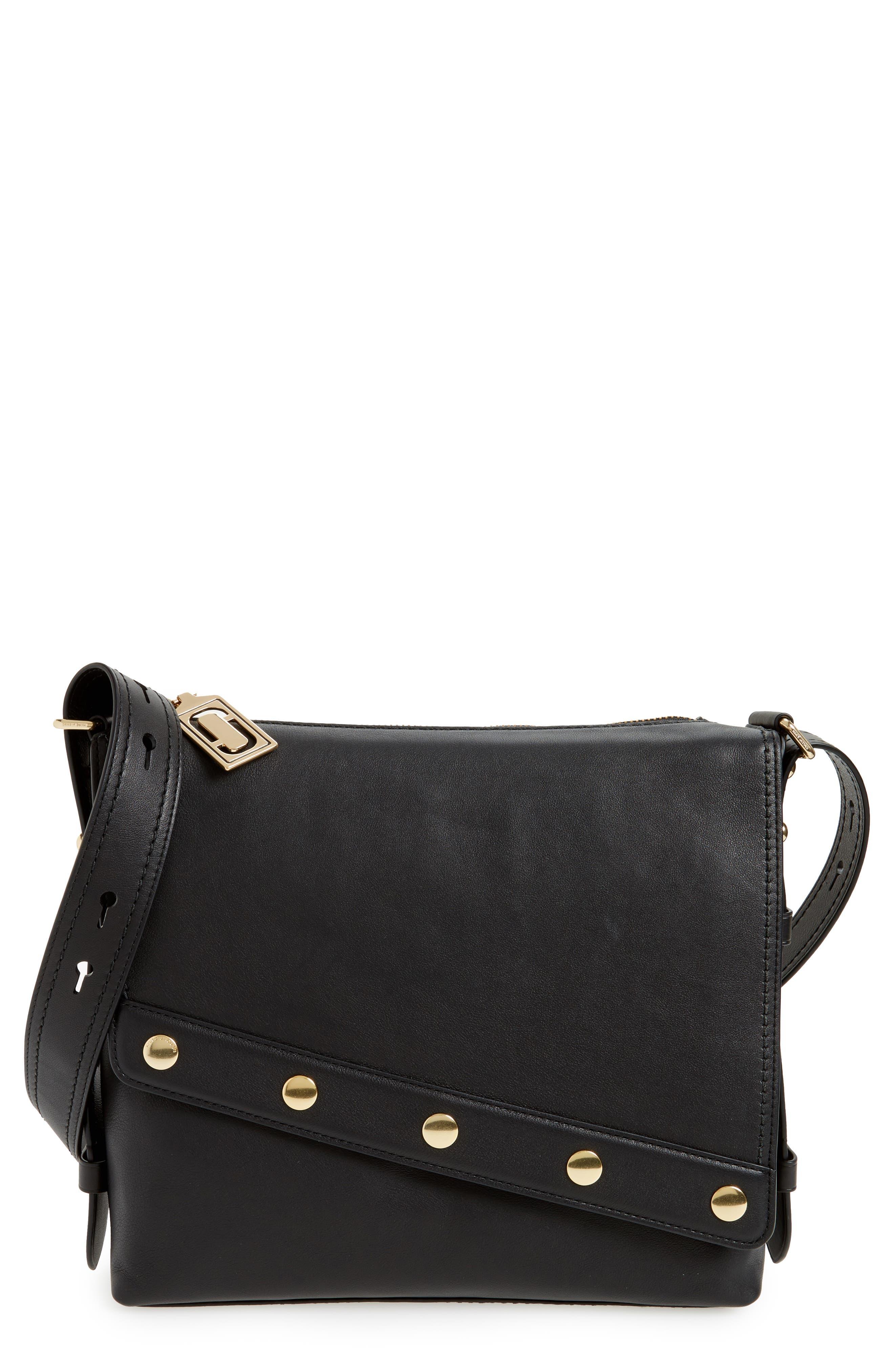 Downtown Stud Leather Shoulder Bag,                             Main thumbnail 1, color,                             Black