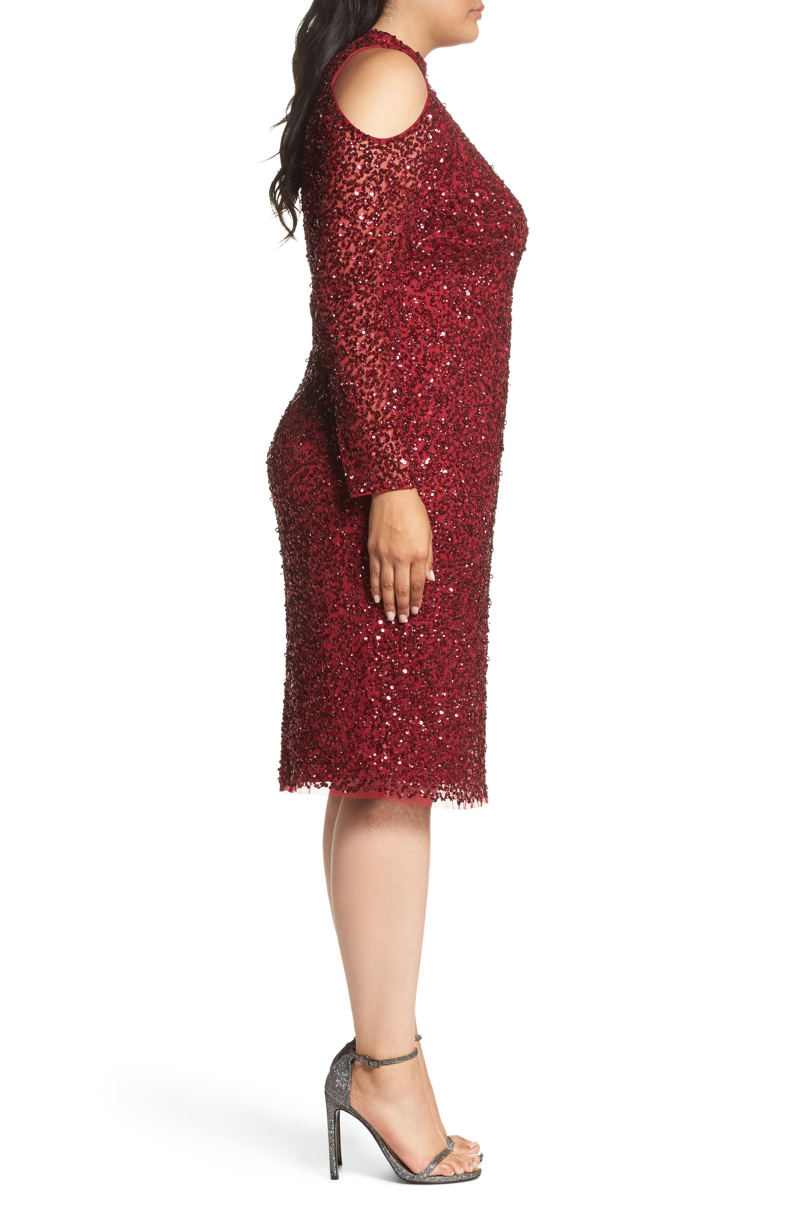 Alternate Image 3  - Adrianna Papell Cold Shoulder Beaded Sheath Dress (Plus Size)
