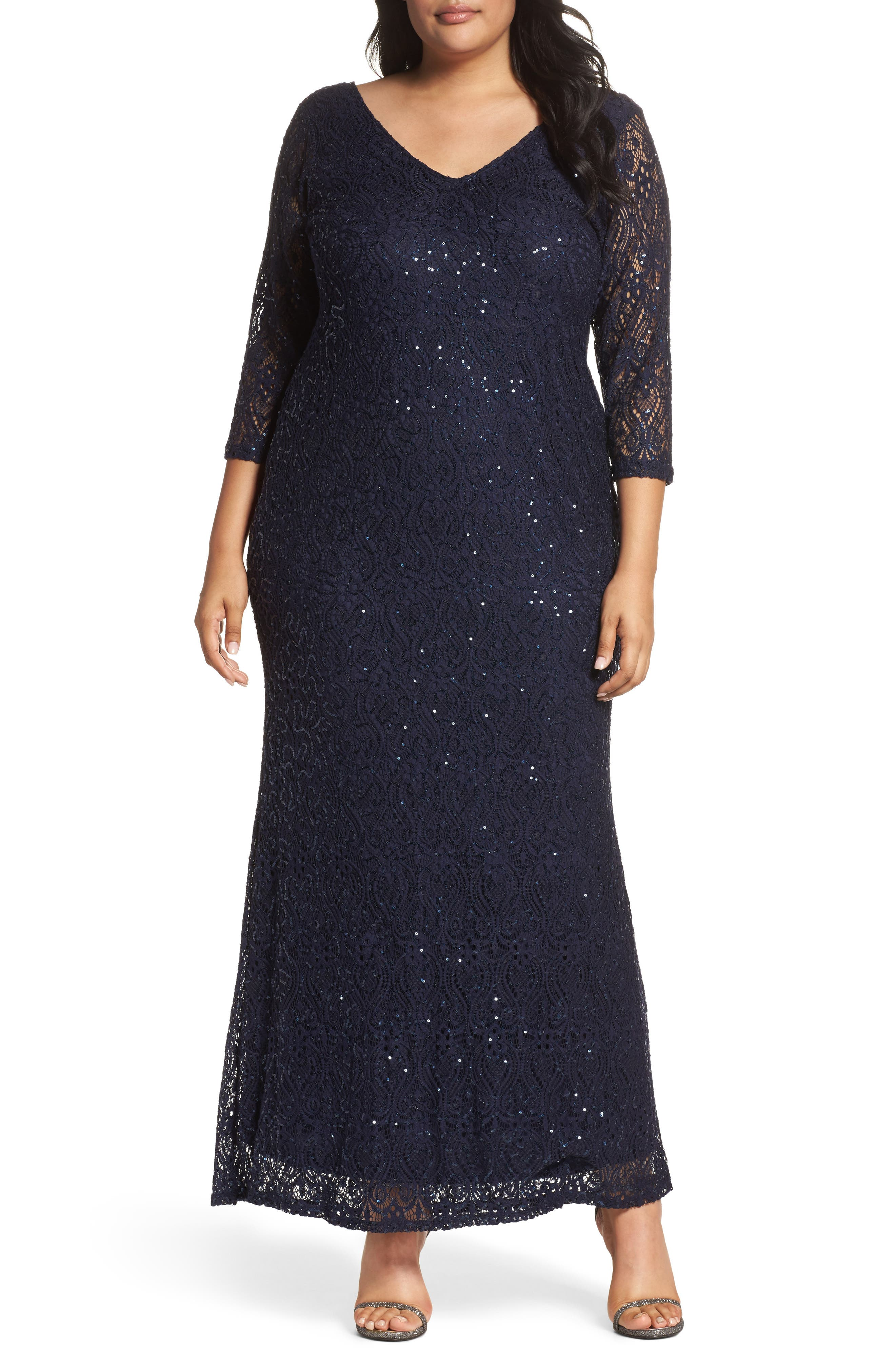 Alternate Image 1 Selected - Marina Sequin Lace A-Line Gown (Plus Size)