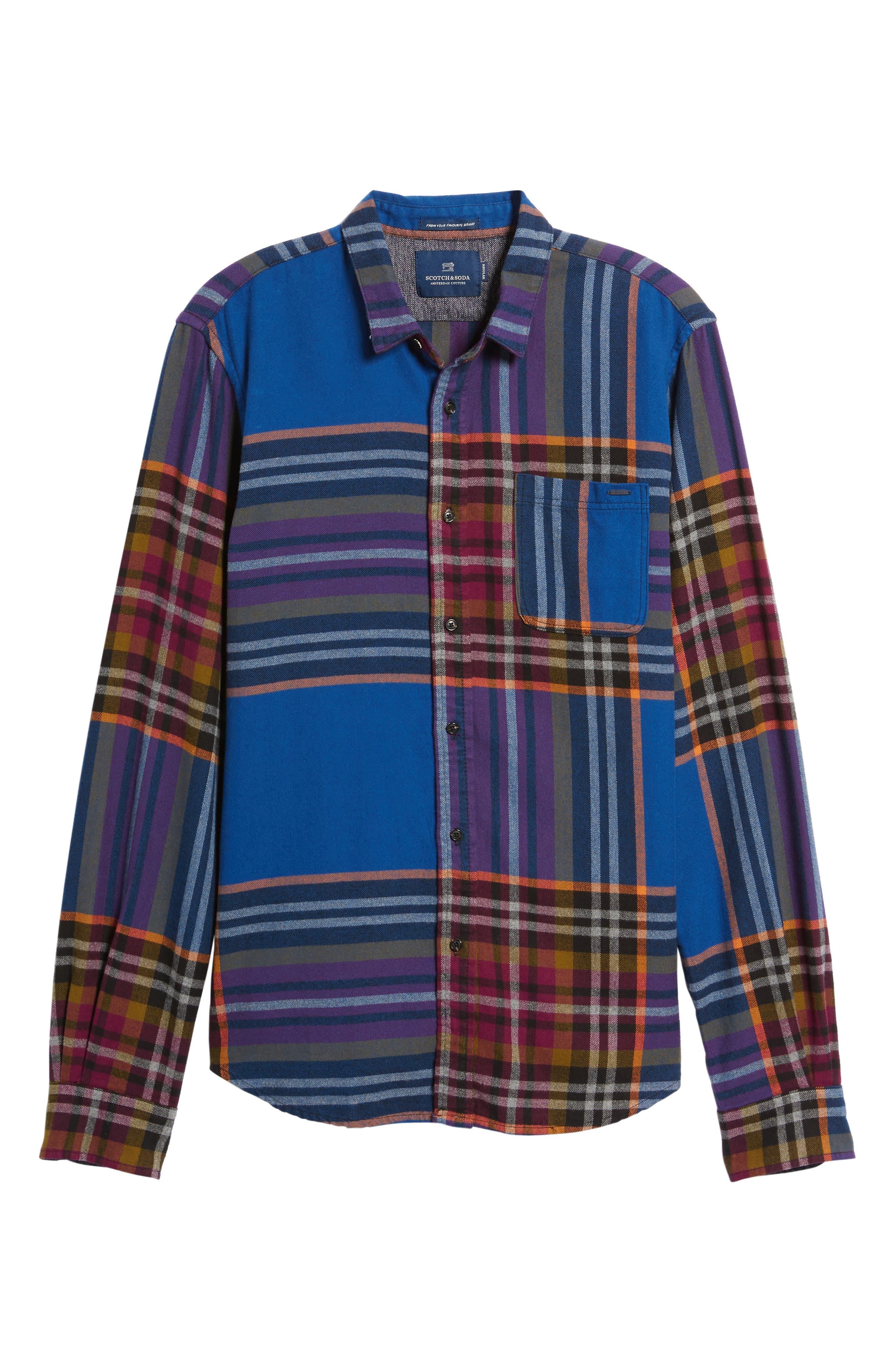 Brushed Flannel Plaid Shirt,                             Alternate thumbnail 6, color,                             Blue