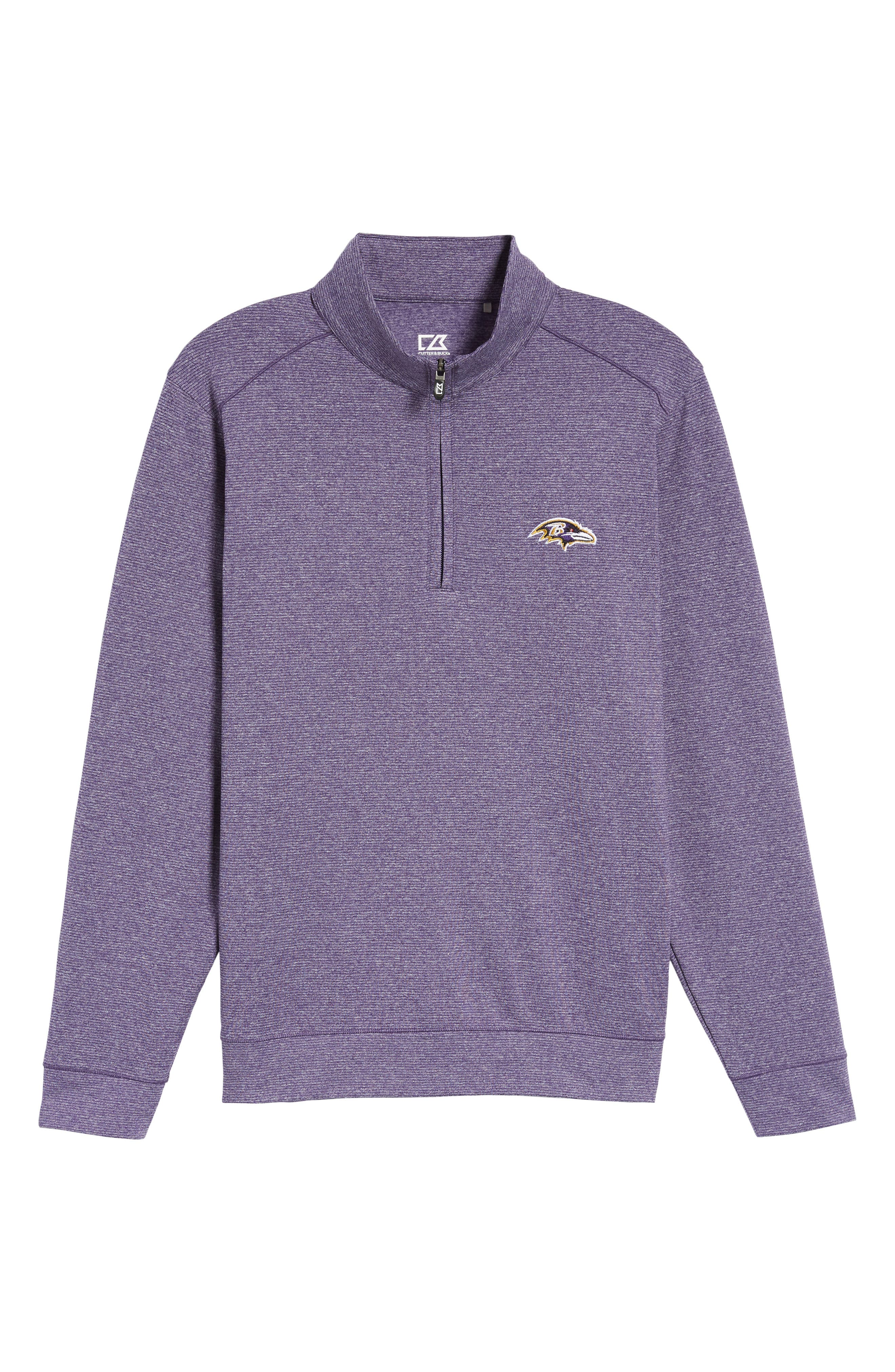 Shoreline - Baltimore Ravens Half Zip Pullover,                             Alternate thumbnail 6, color,                             College Purple Heather