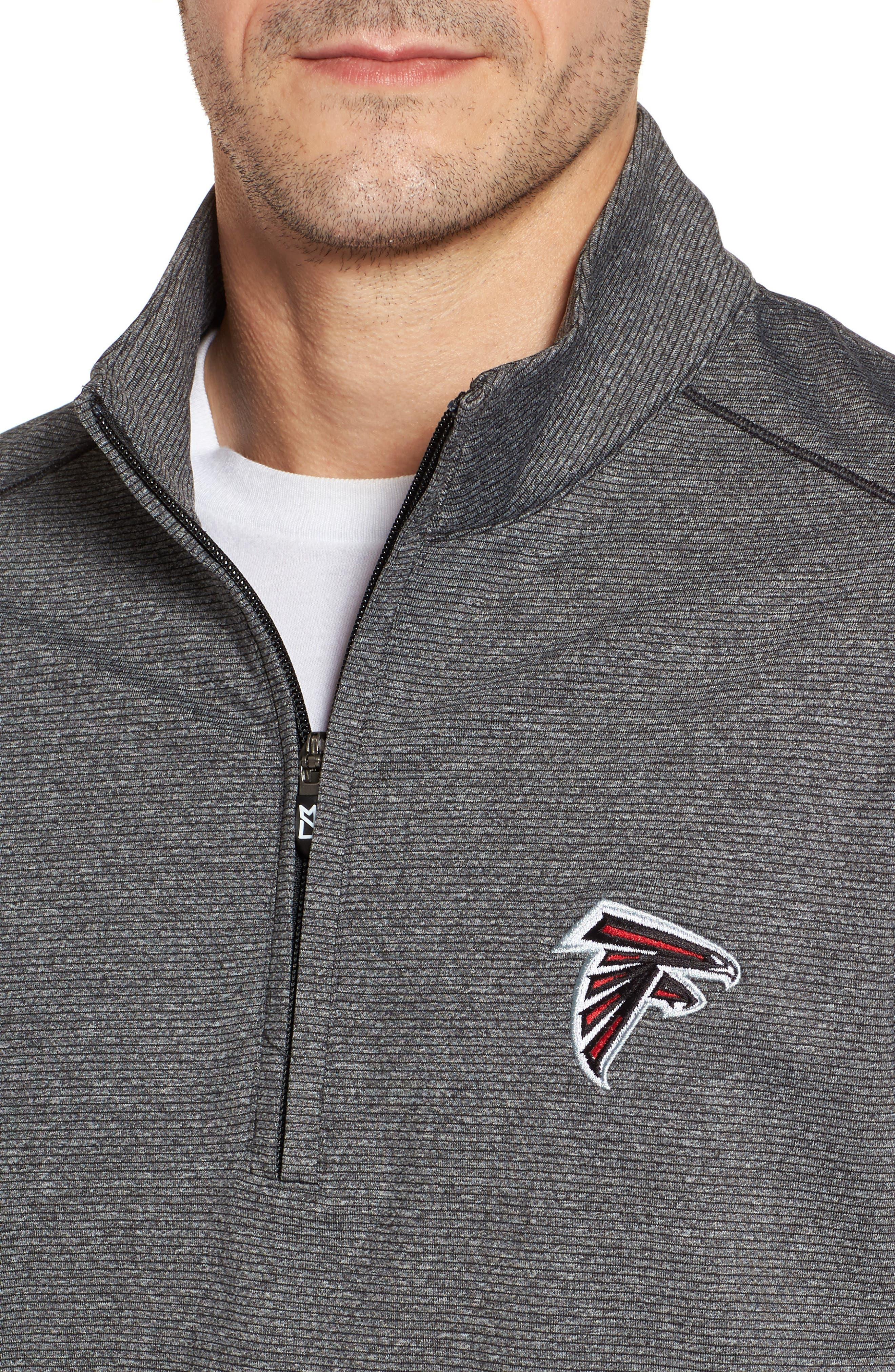 Shoreline - Atlanta Falcons Half Zip Pullover,                             Alternate thumbnail 4, color,                             Charcoal Heather