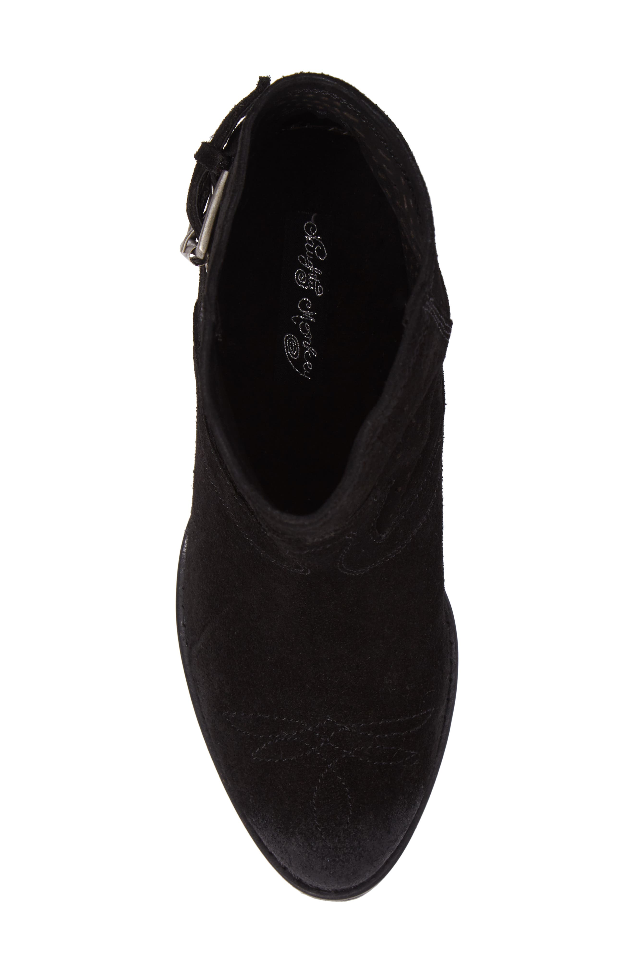 Zoey Perforated Bootie,                             Alternate thumbnail 5, color,                             Black Suede