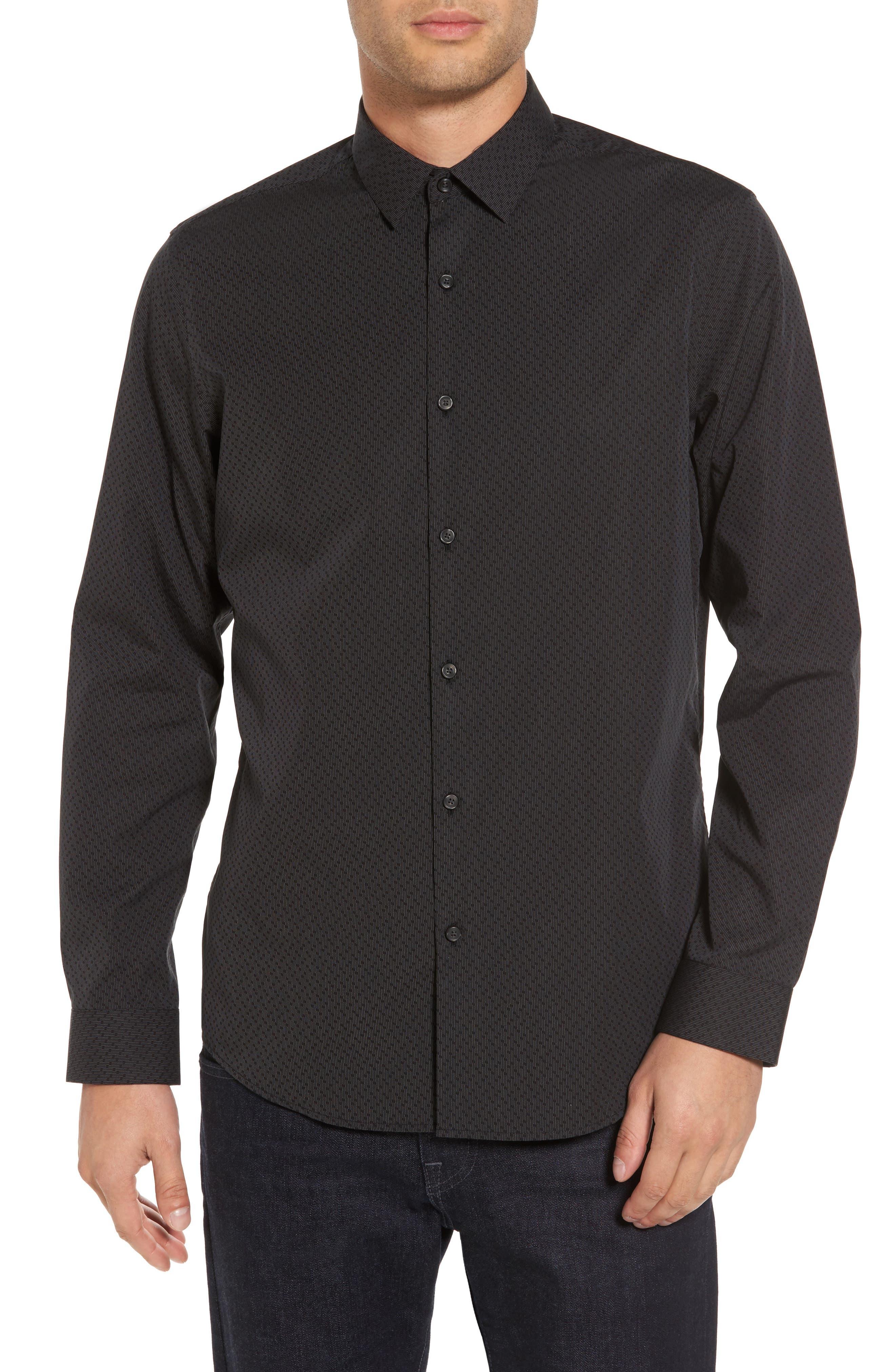 Trim Fit Print Sport Shirt,                         Main,                         color, Black Caviar Dot Dobby