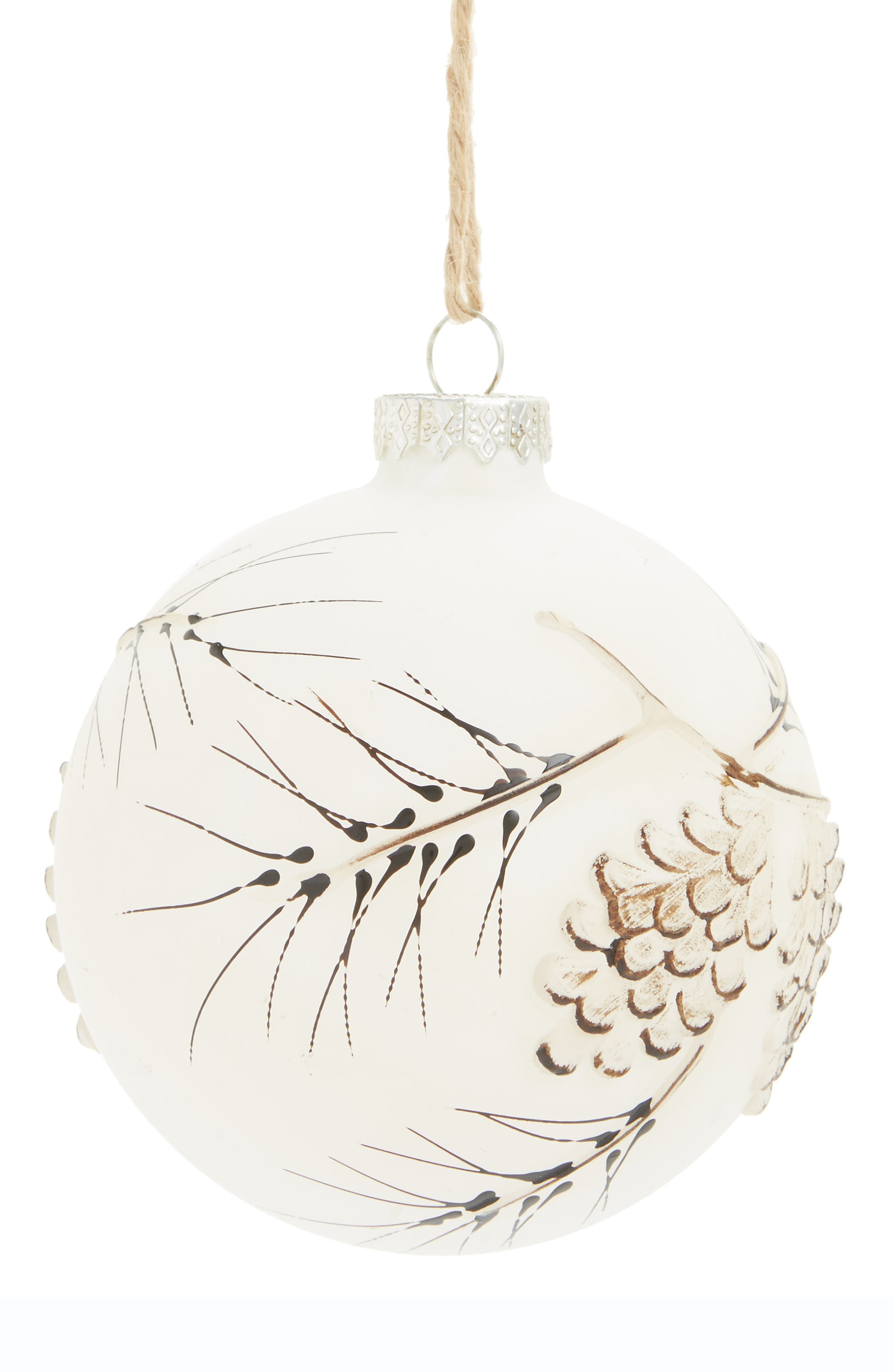 Art Pinecone Glass Ornament,                             Main thumbnail 1, color,                             White
