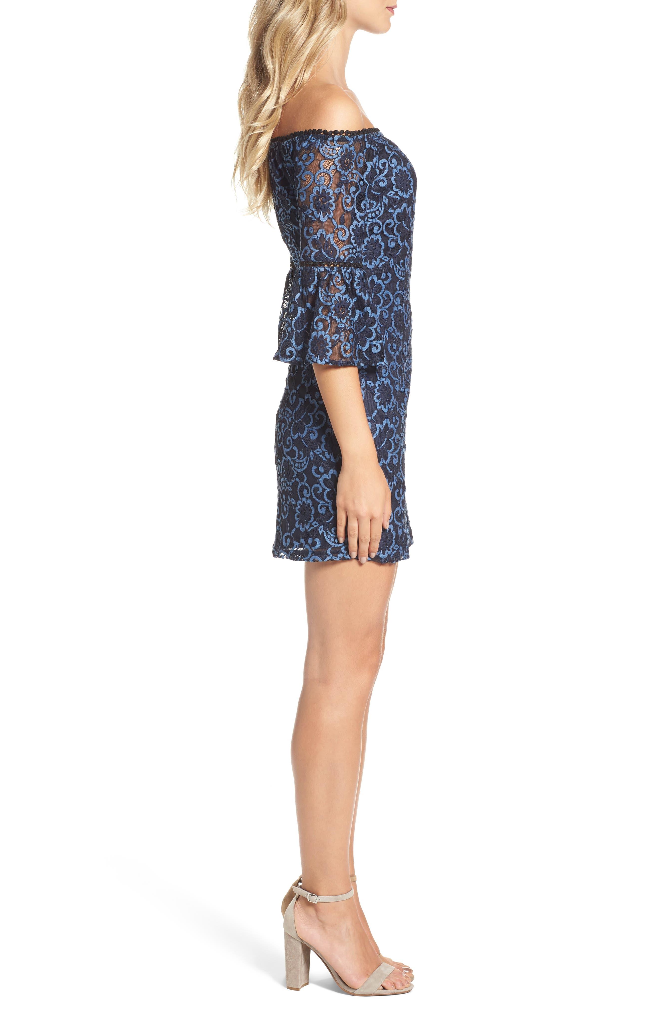 Danlyn Off the Shoulder Lace Minidress,                             Alternate thumbnail 3, color,                             Blue