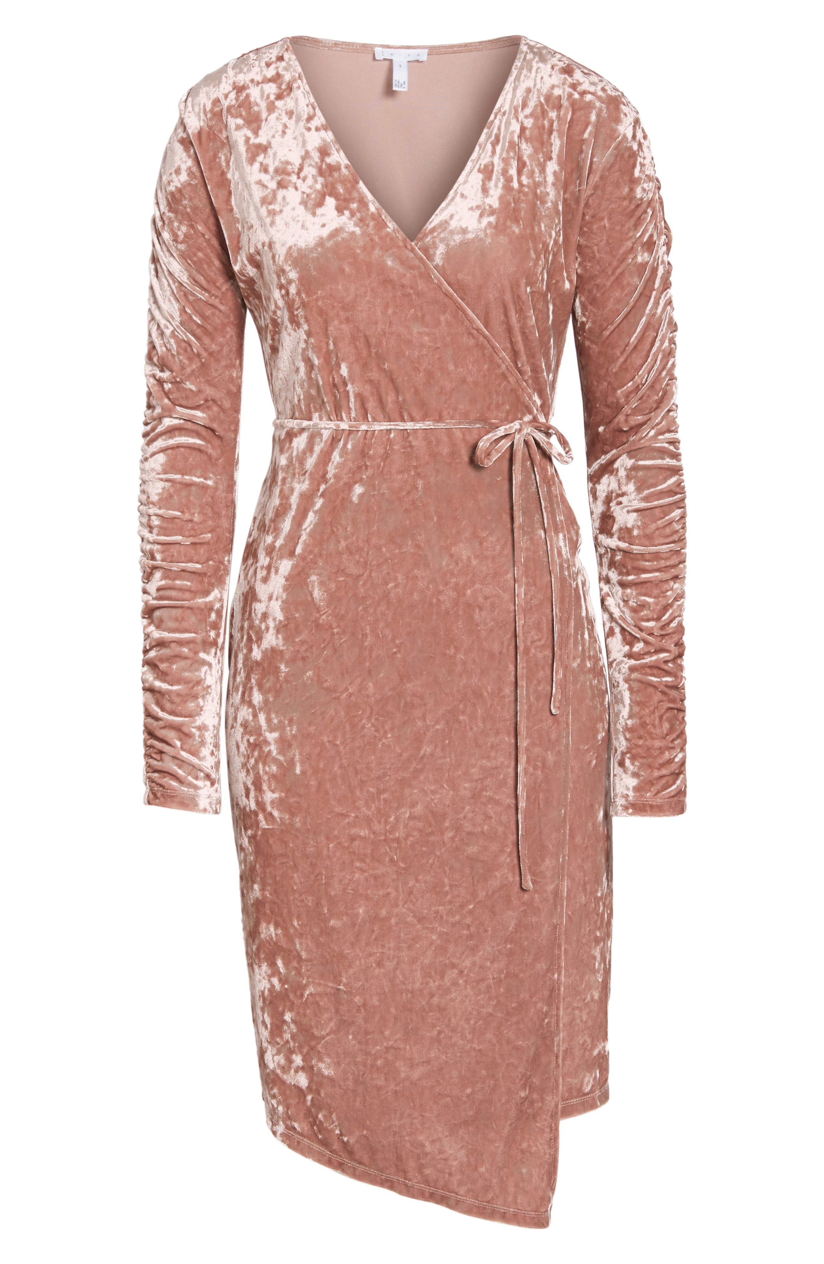 Alternate Image 7  - Leith Ruched Velour Wrap Dress