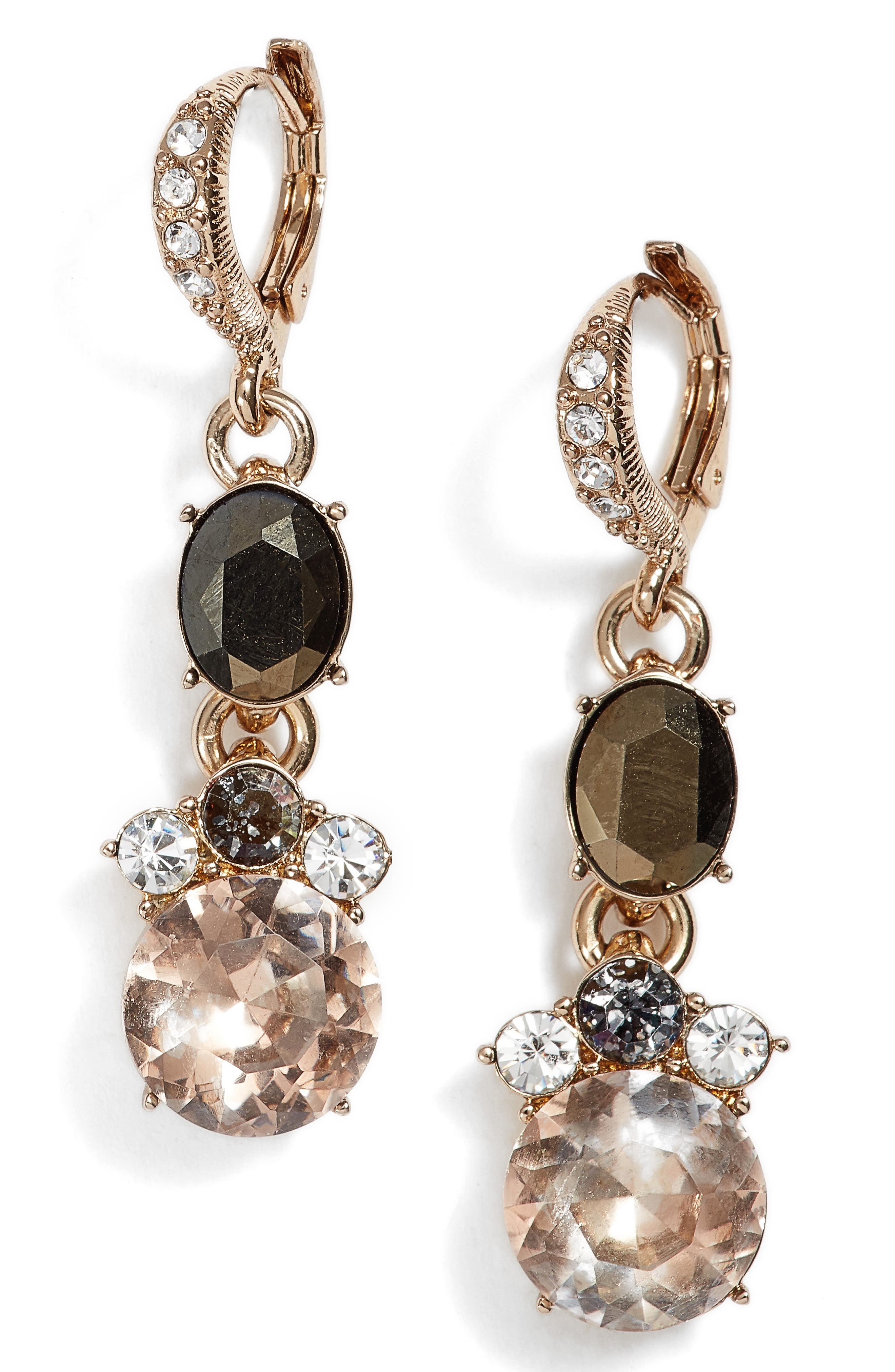 Crystal Drop Earrings,                         Main,                         color, Gold
