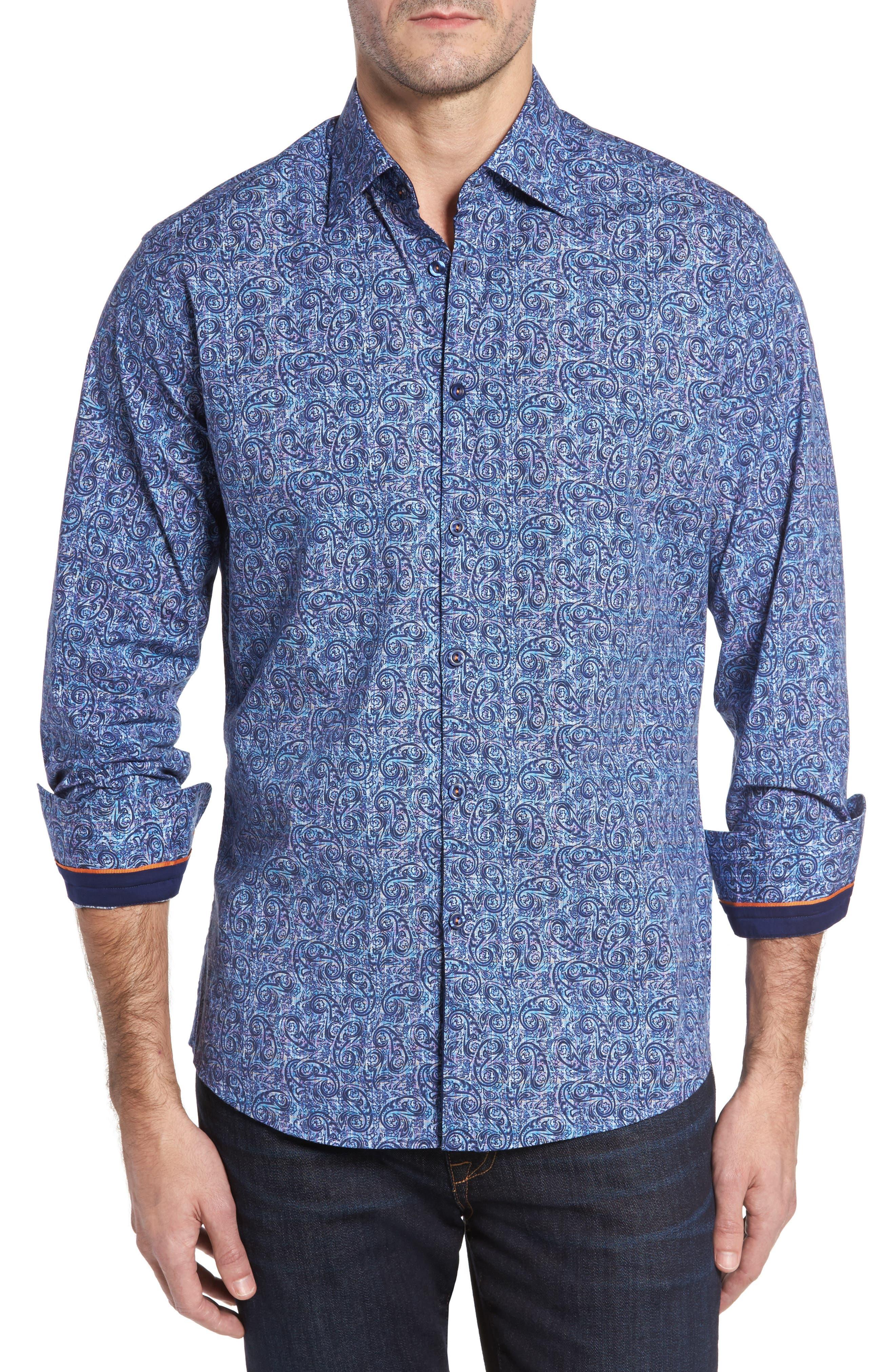 Slim Fit Paisley Plaid FX Sport Shirt,                         Main,                         color, Navy
