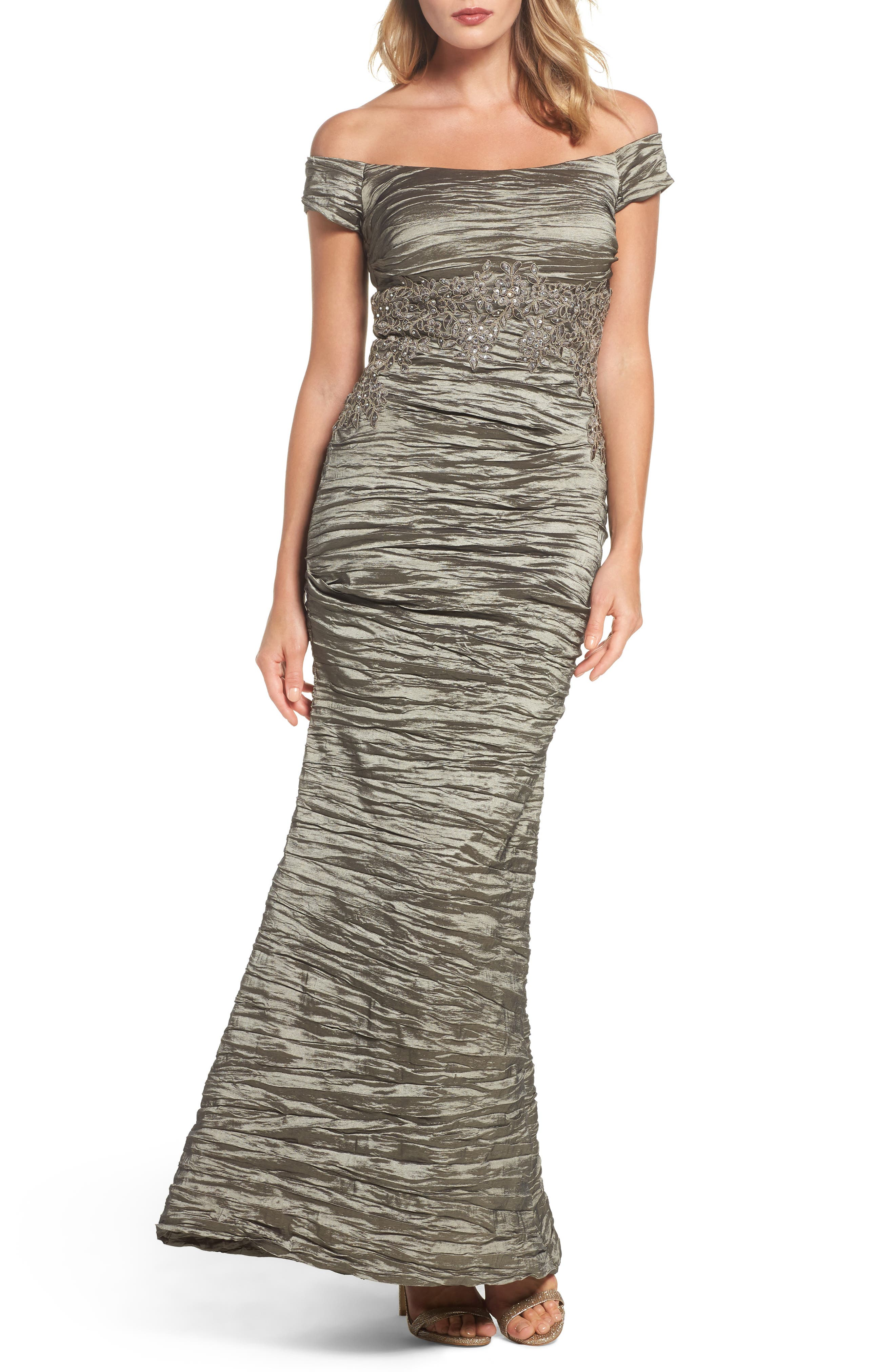 Off the Shoulder Crinkle Satin Trumpet Gown,                         Main,                         color, Smokey Taupe