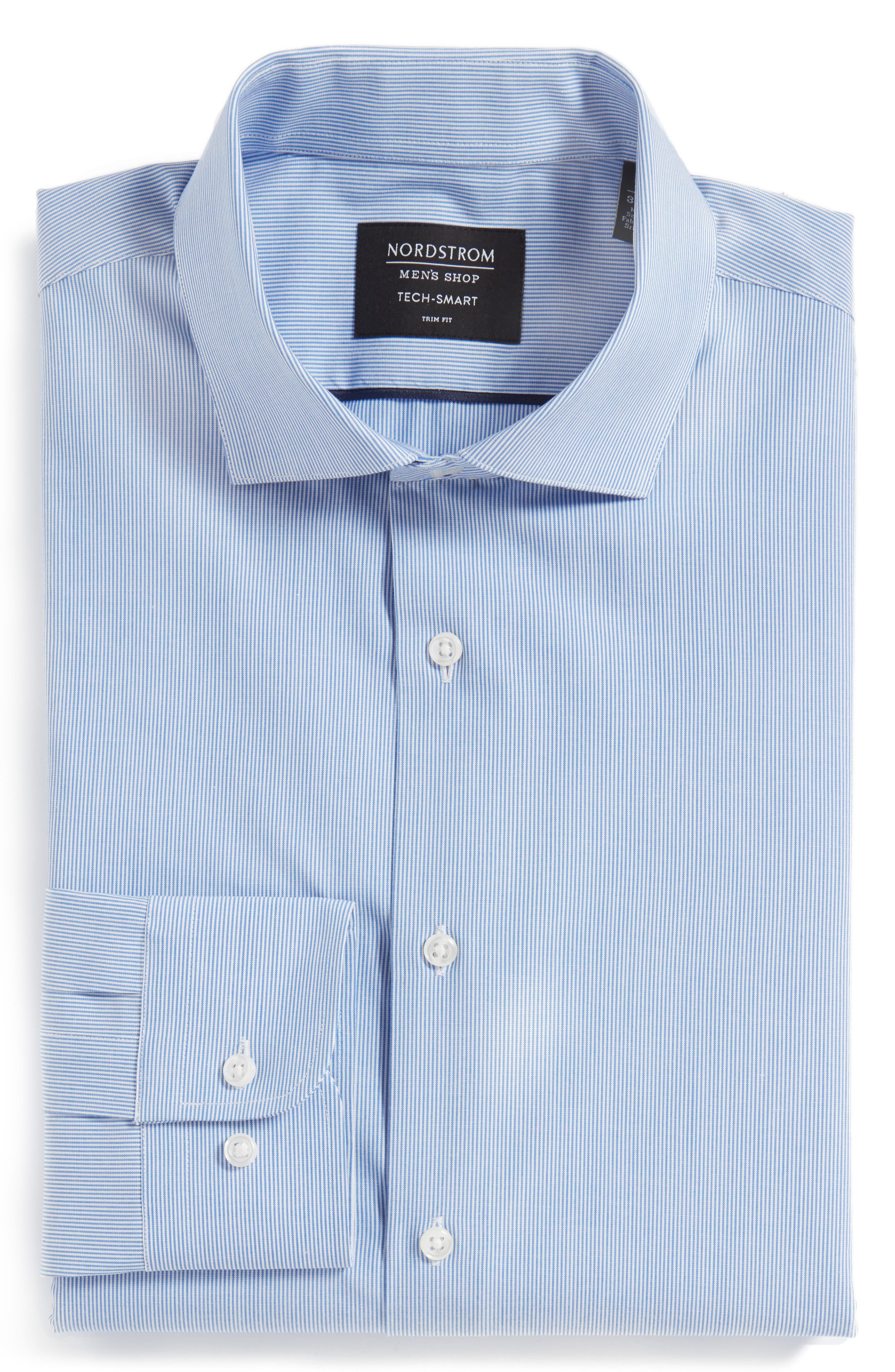 Tech-Smart Trim Fit Stretch Stripe Dress Shirt,                             Alternate thumbnail 4, color,                             Blue Yonder