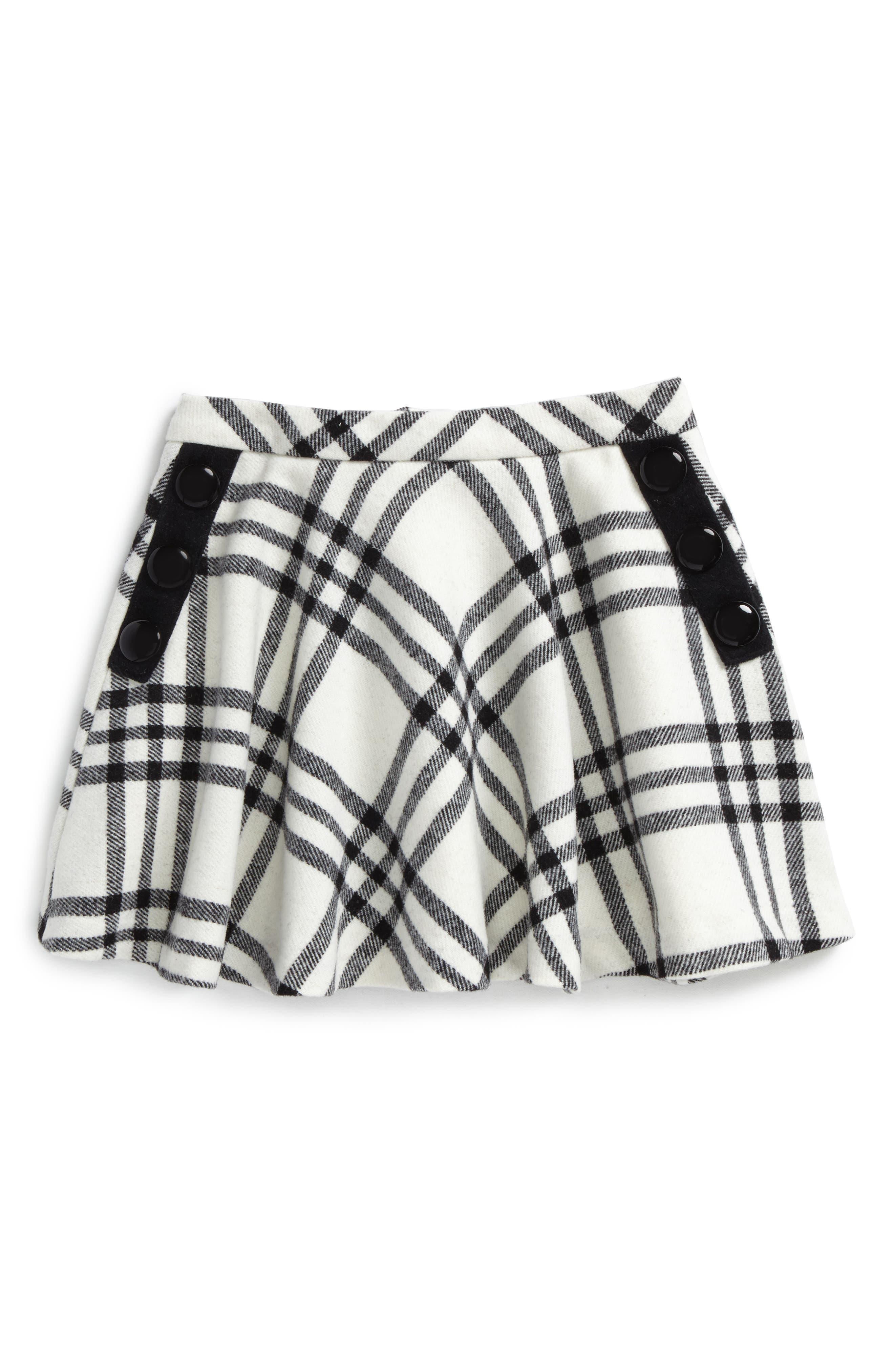 plaid wool blend skirt,                             Main thumbnail 1, color,                             French Cream/ Black