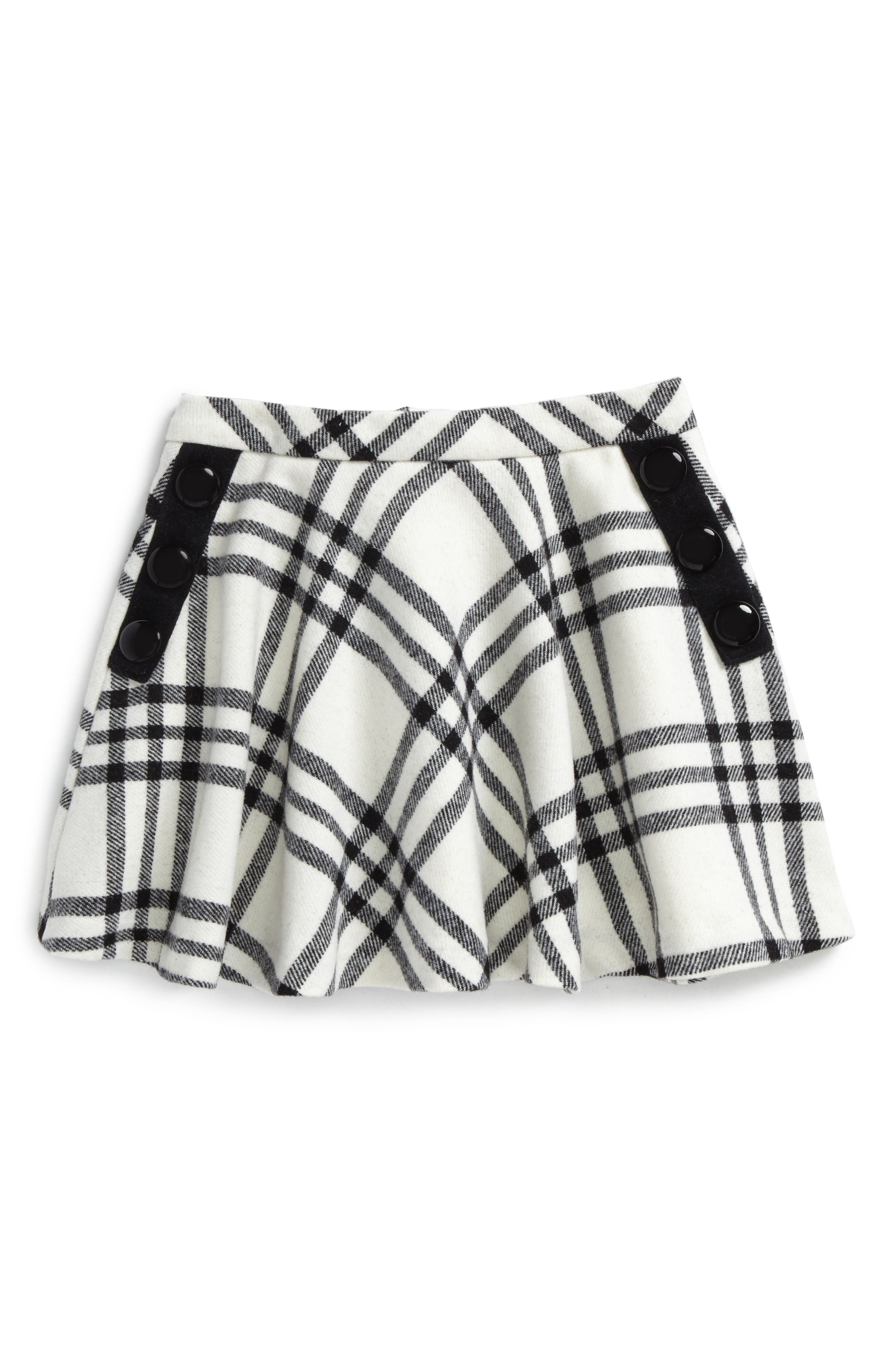 plaid wool blend skirt,                         Main,                         color, French Cream/ Black