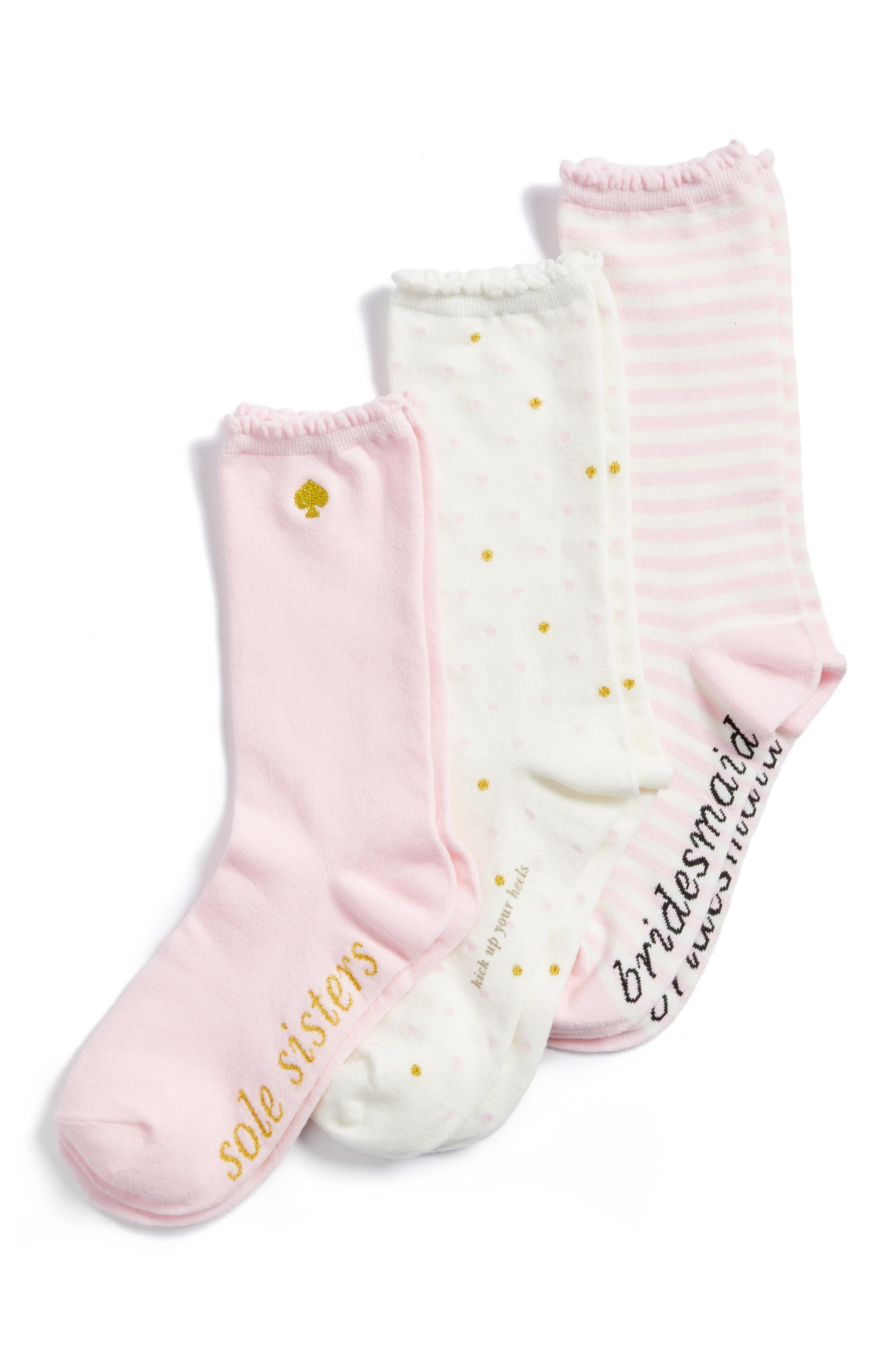 bridesmaid 3-pack crew socks,                         Main,                         color, Cream