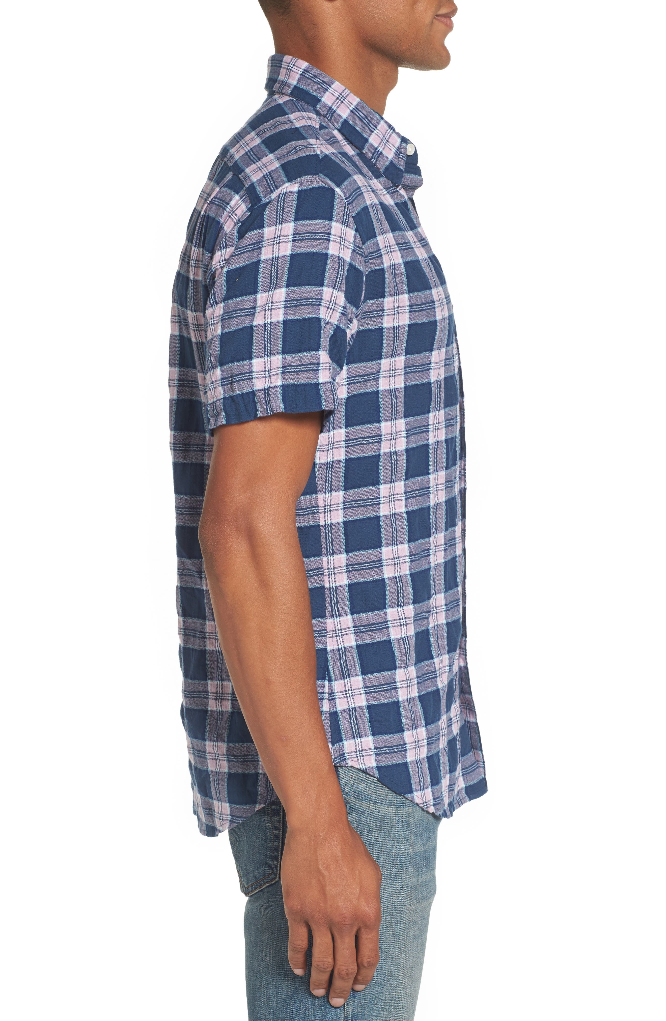 Riviera Slim Fit Plaid Woven Shirt,                             Alternate thumbnail 3, color,                             Crinkle Blue Pine Plaid