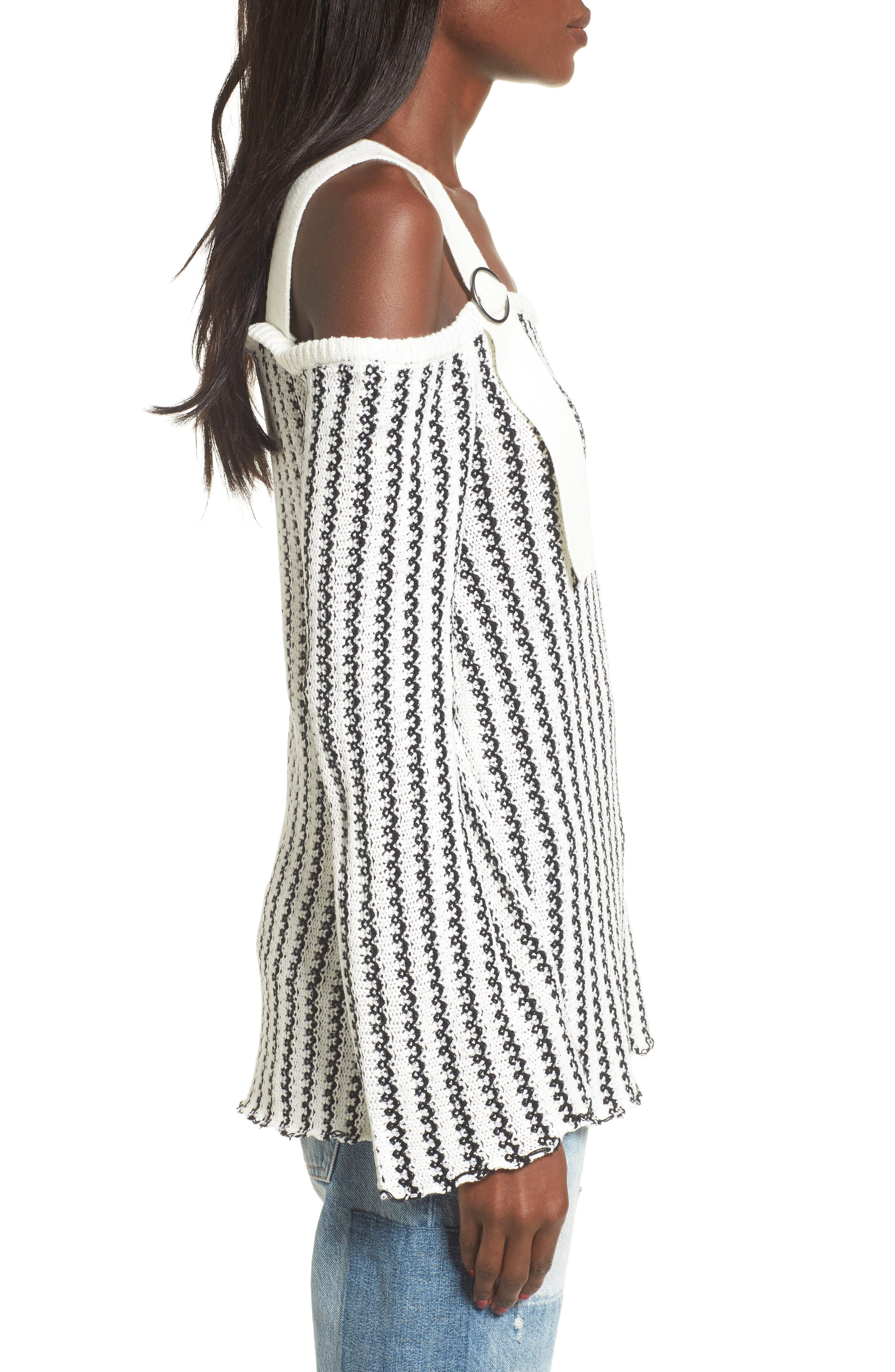 Buckle Strap Sweater,                             Alternate thumbnail 4, color,                             Ivory Black