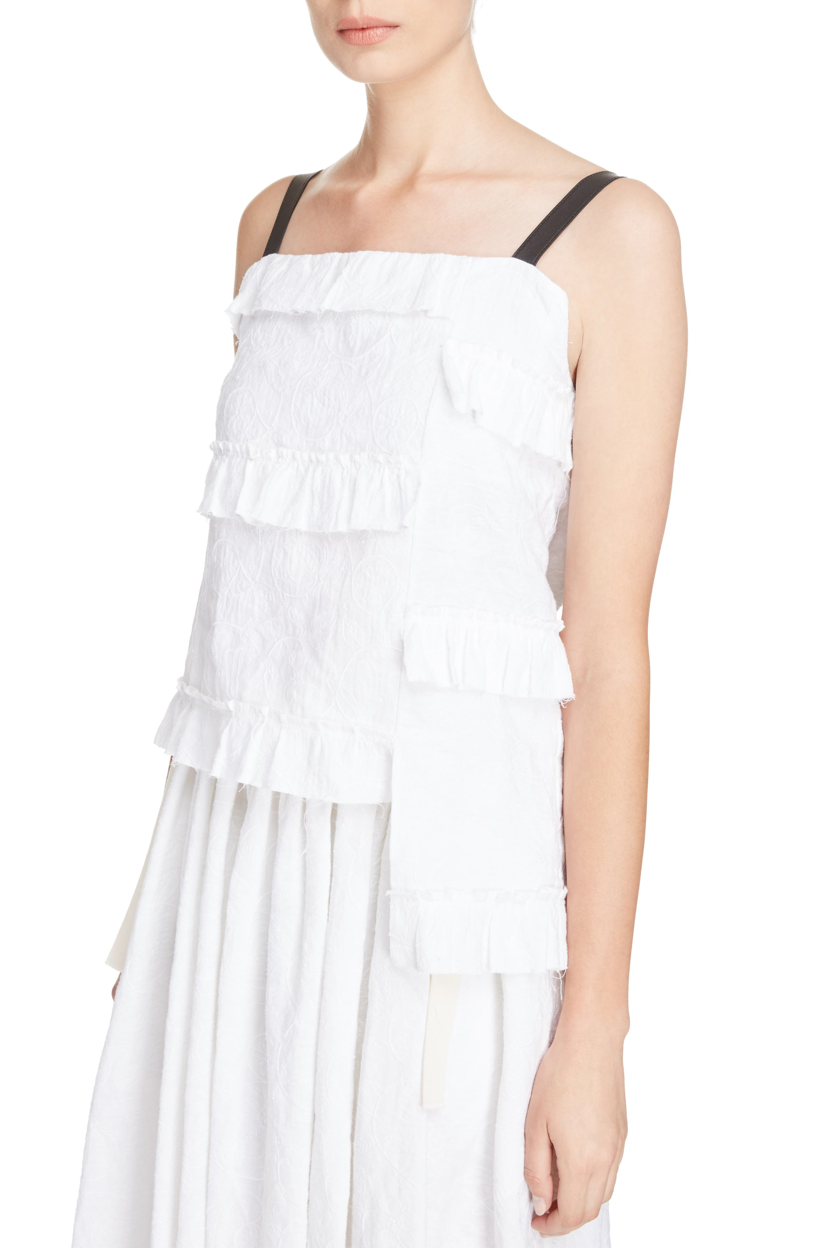 Broderie Anglaise Ruffle Camisole,                             Alternate thumbnail 4, color,                             White