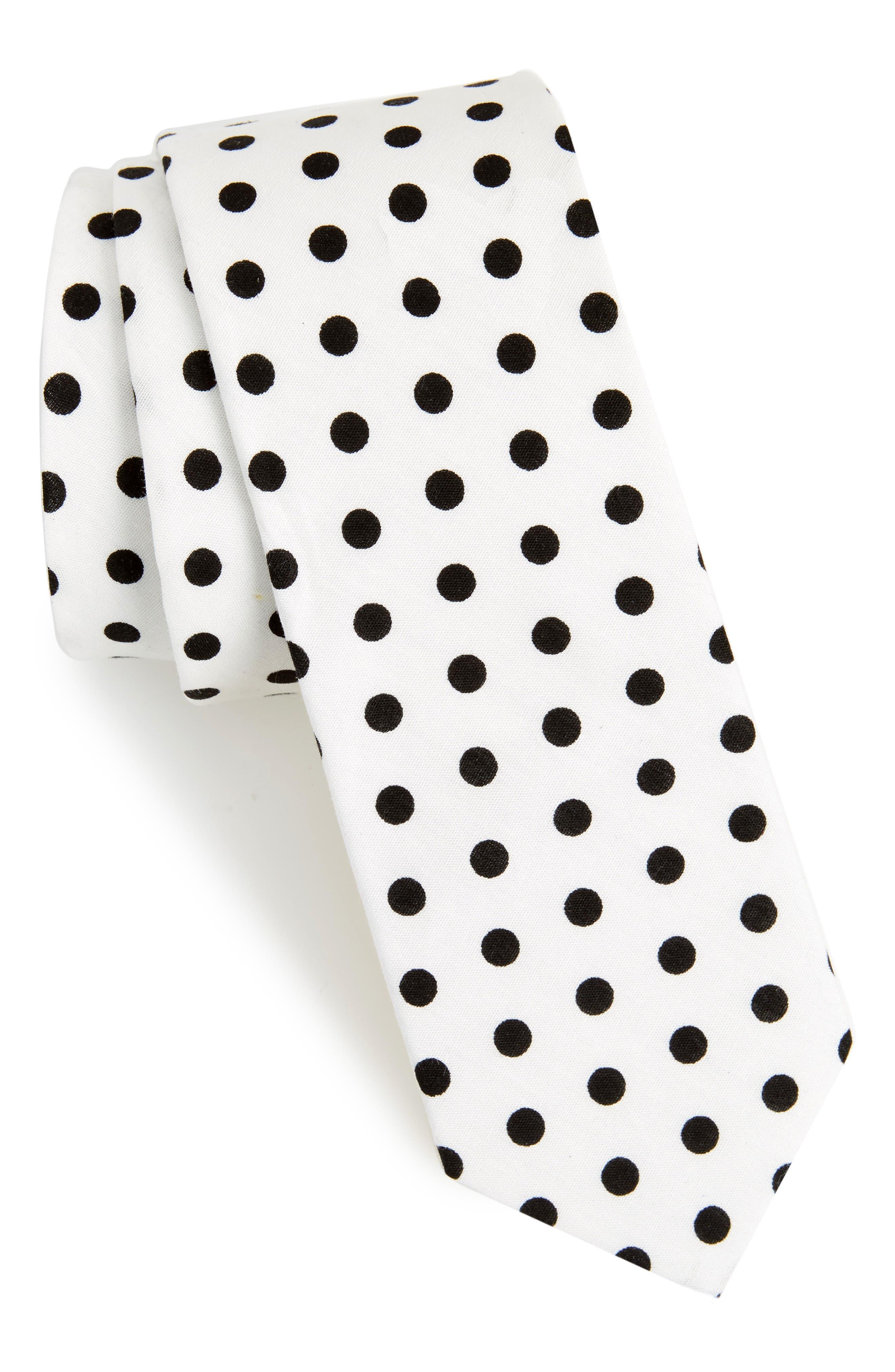 Montrose Dot Cotton Skinny Tie,                         Main,                         color, White