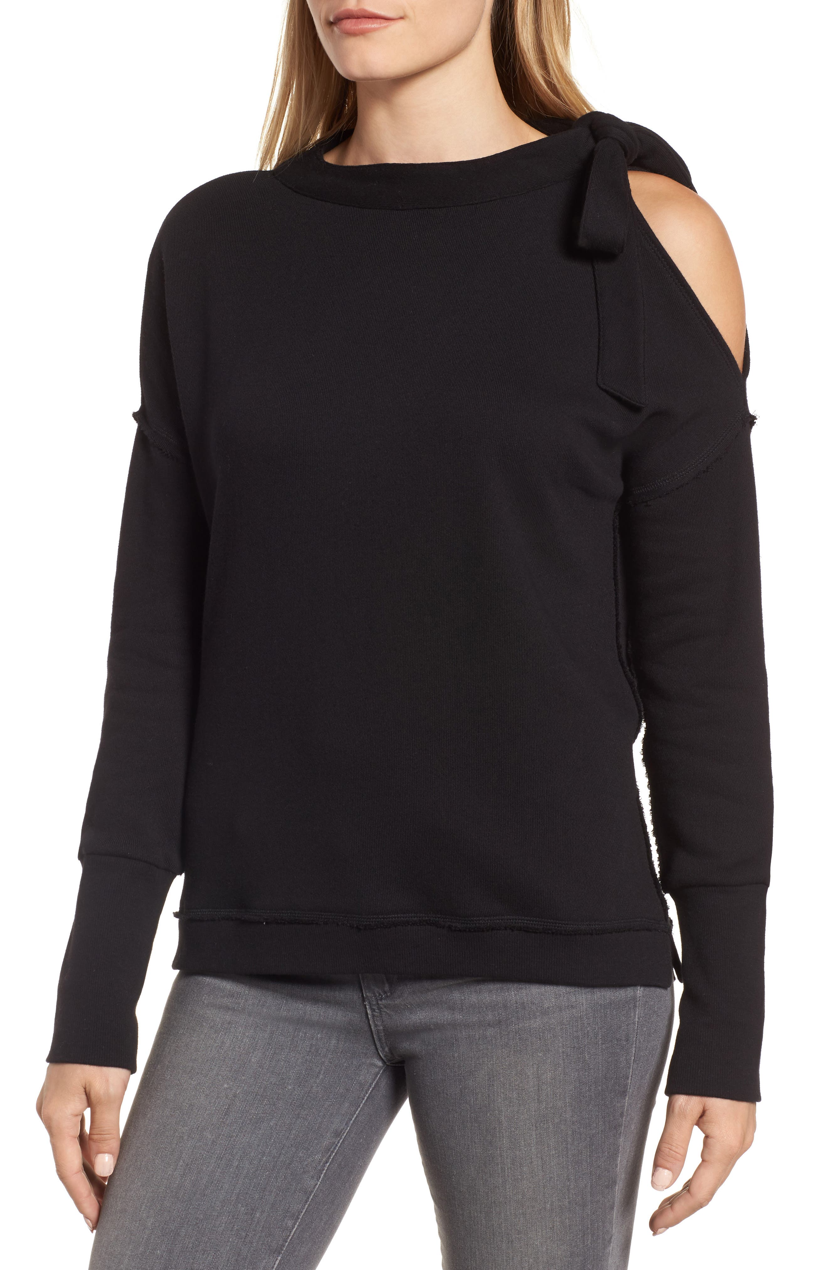 Caslon® Tie Cold Shoulder Sweatshirt (Regular & Petite)