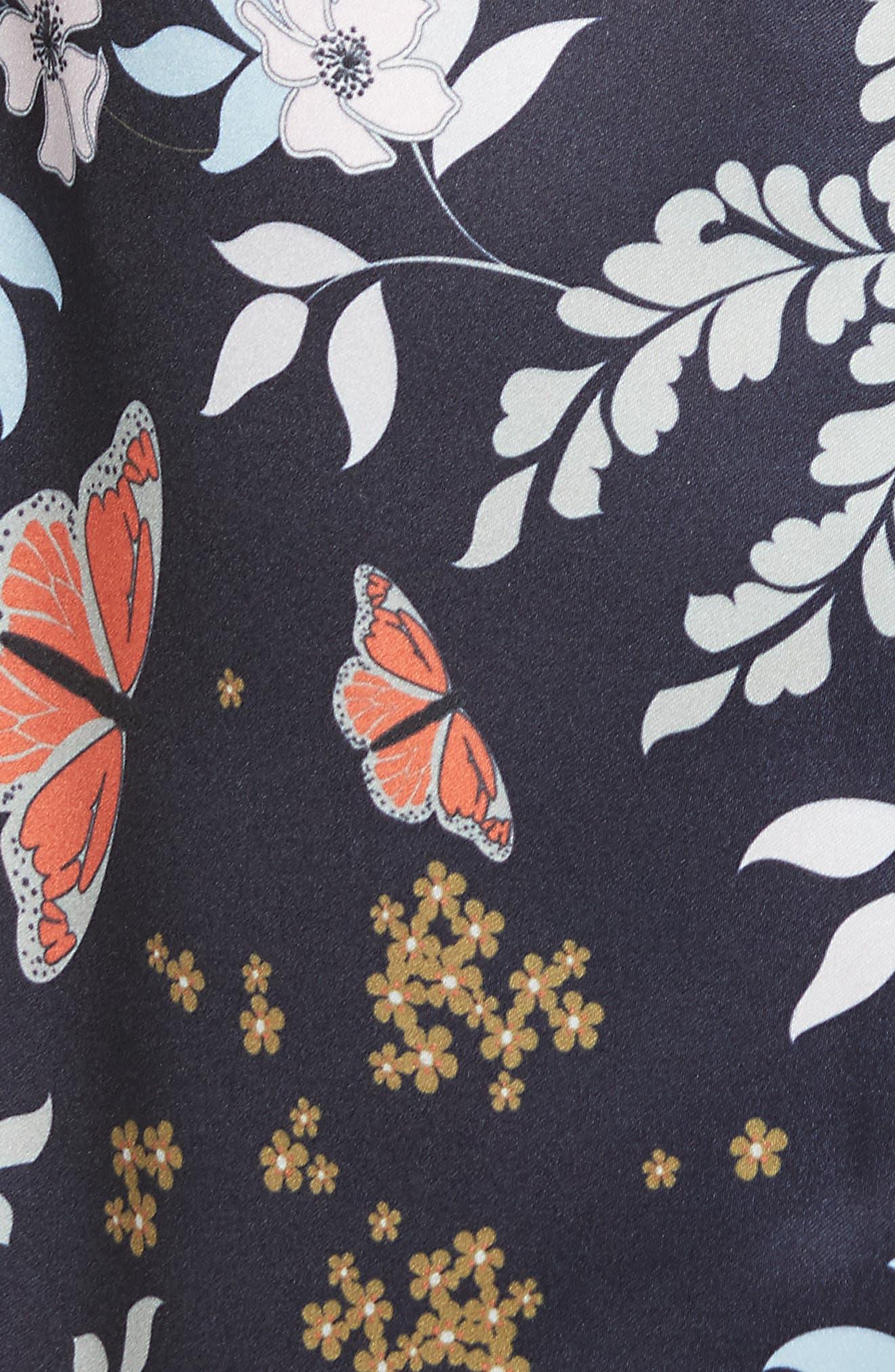 Janesa Kyoto Print Ruffle Skirt,                             Alternate thumbnail 5, color,                             Mid Blue