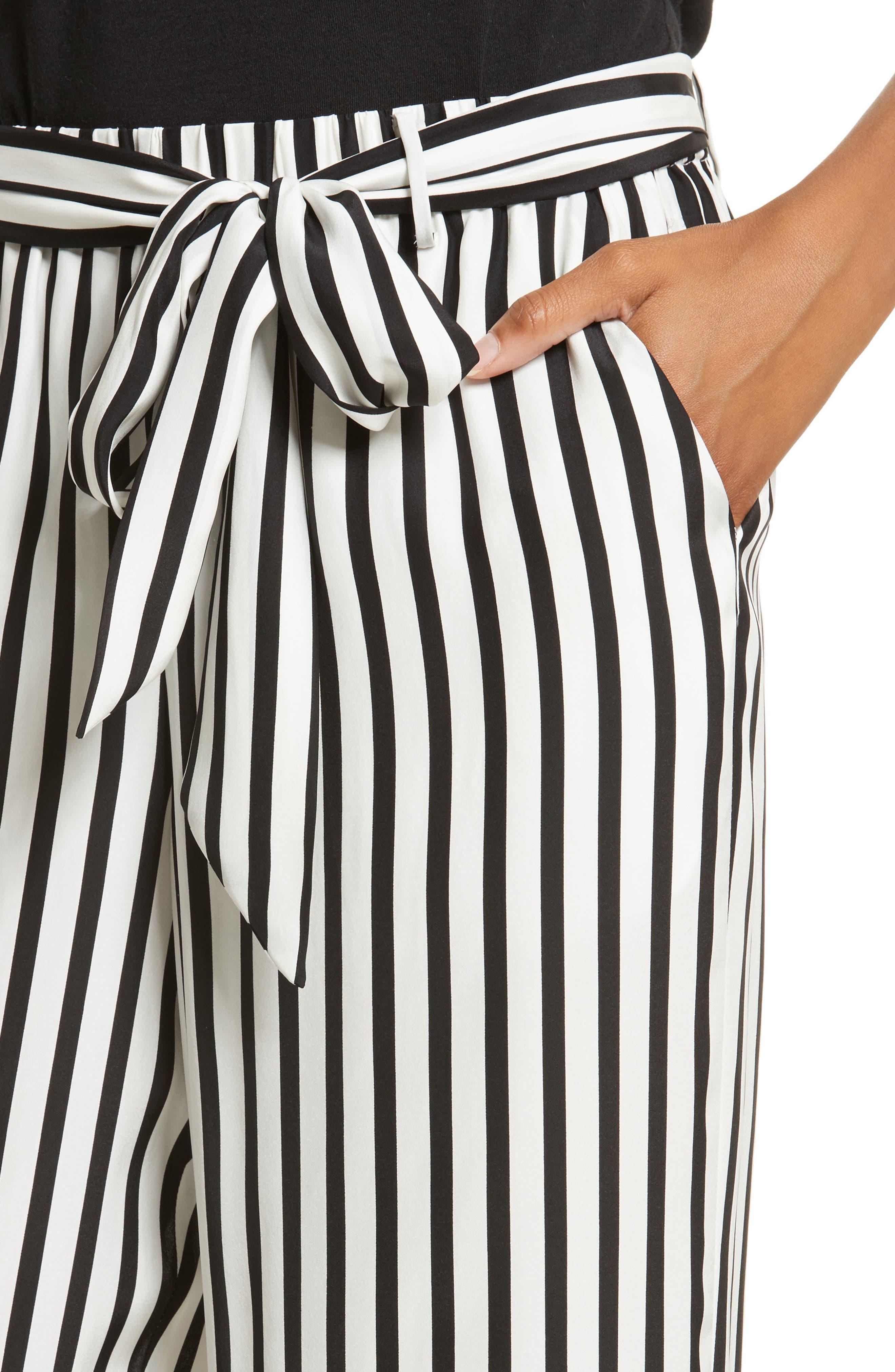 Stripe Wide Leg Silk Pants,                             Alternate thumbnail 5, color,                             Noir Multi
