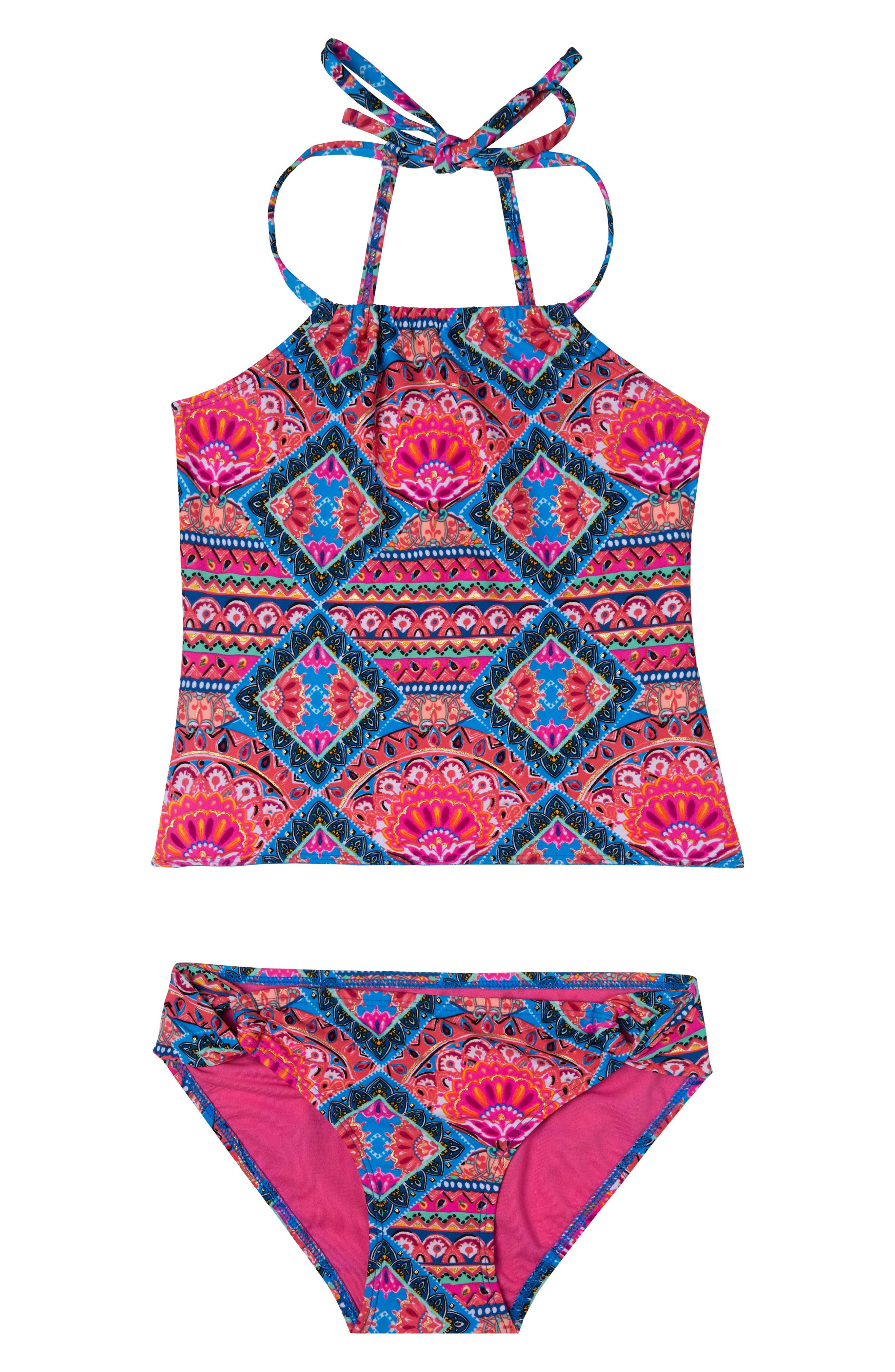 Mixed Print Two-Piece Swimsuit,                         Main,                         color, Pink