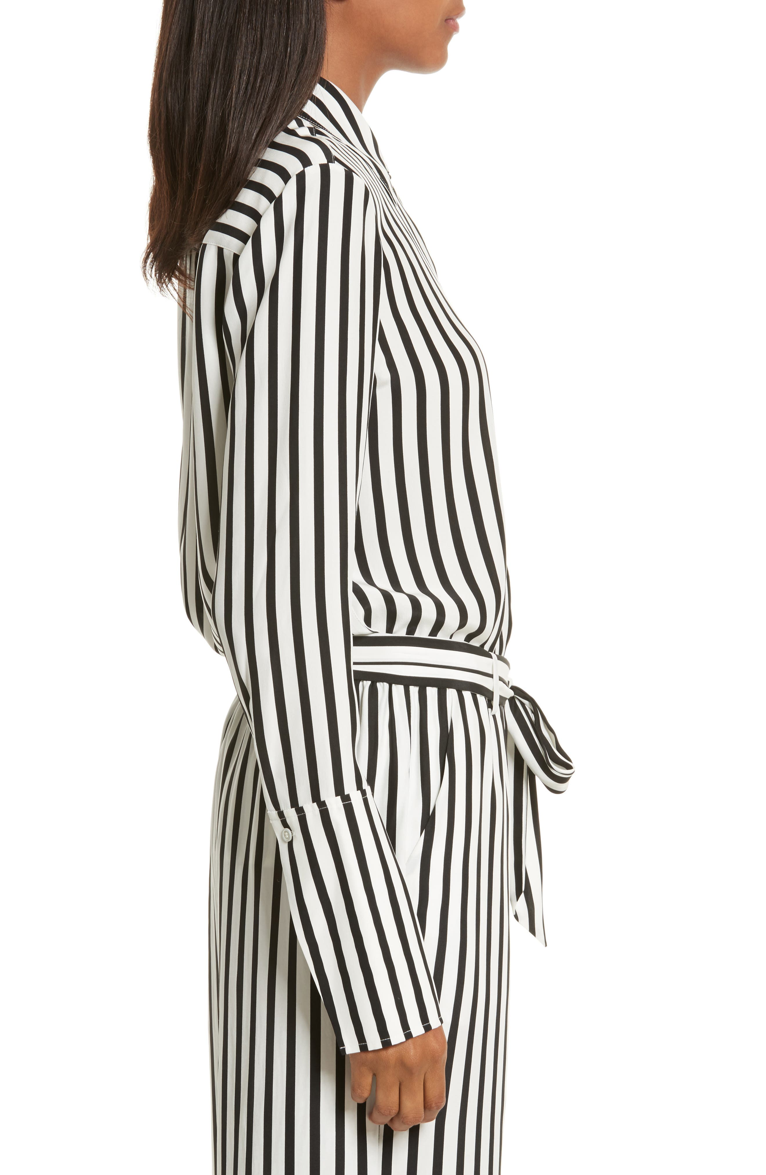 Stripe Silk Shirt,                             Alternate thumbnail 3, color,                             Noir Multi