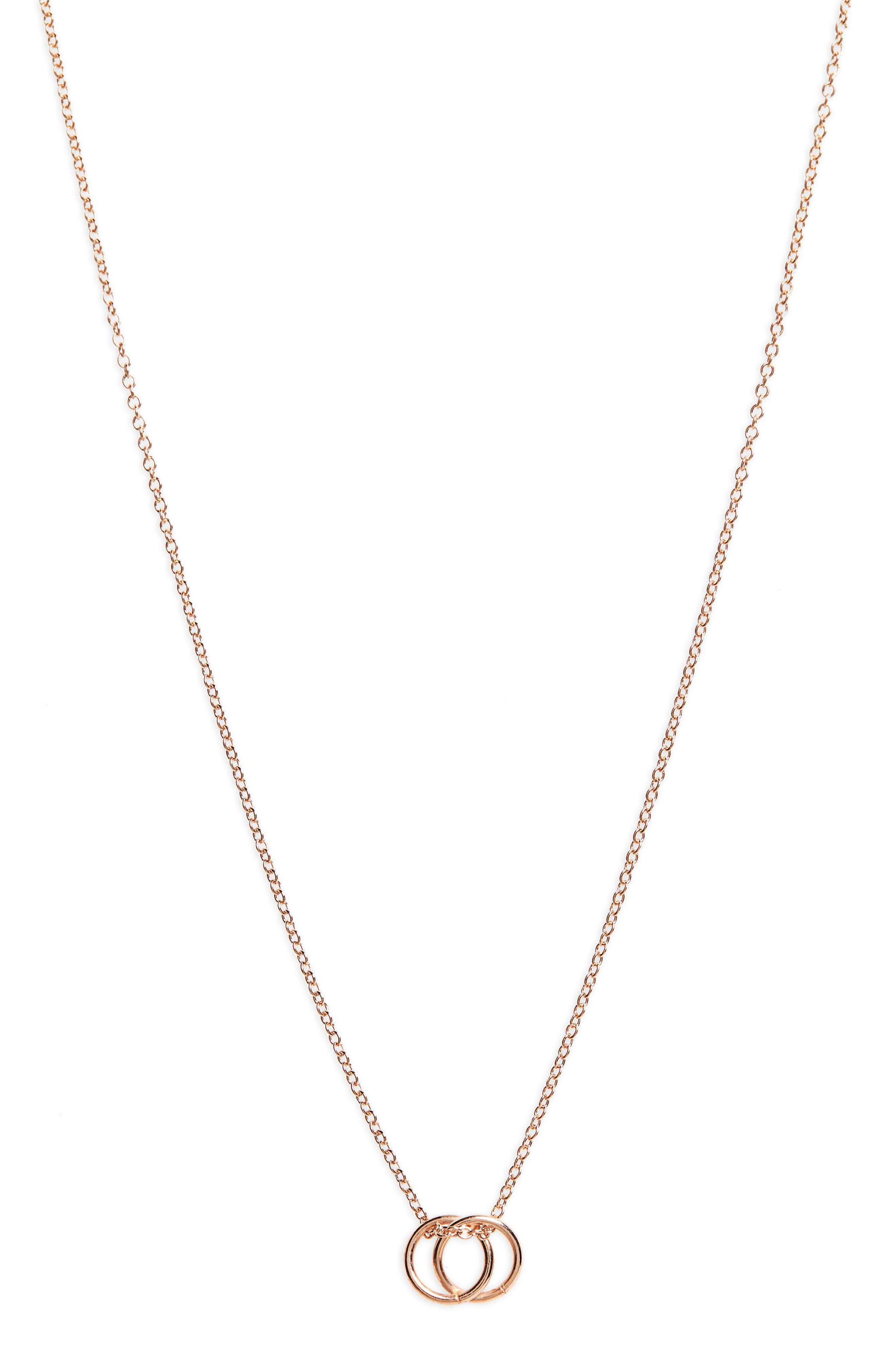 Karma Linked Ring Pendant Necklace,                         Main,                         color, Rose Gold