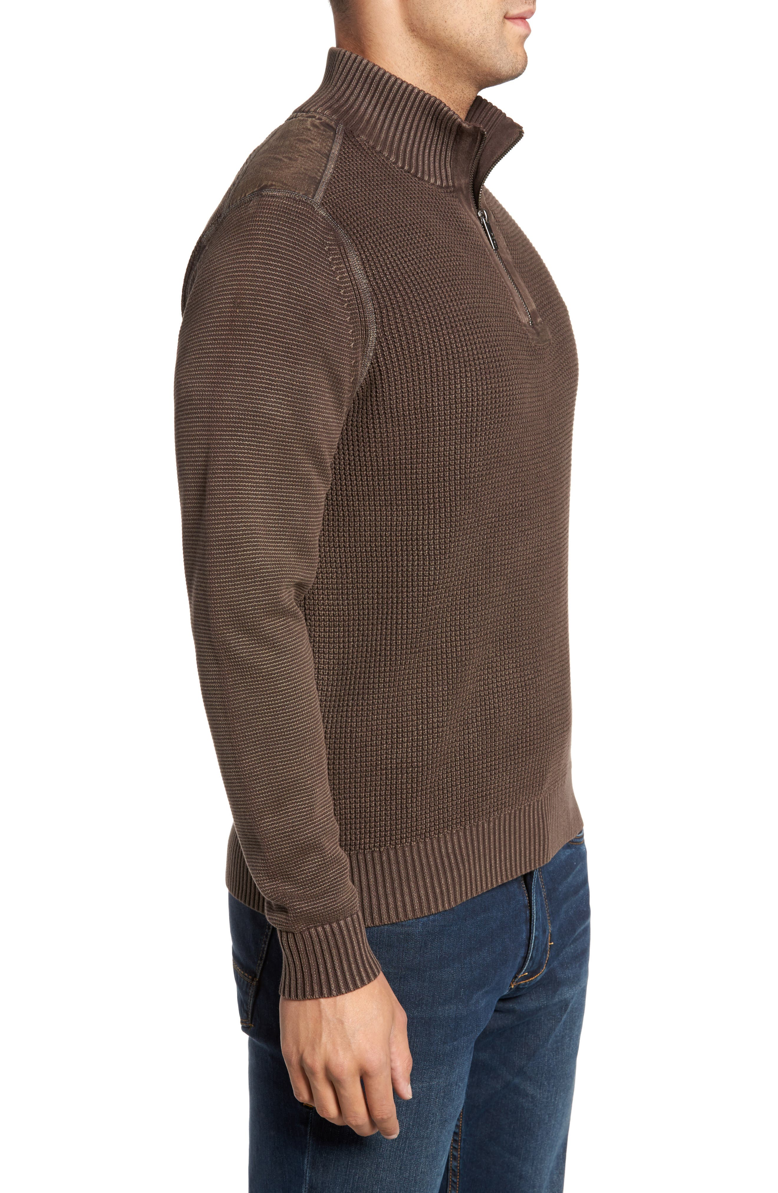 'Coastal Shores' Quarter Zip Sweater,                             Alternate thumbnail 3, color,                             Tilth