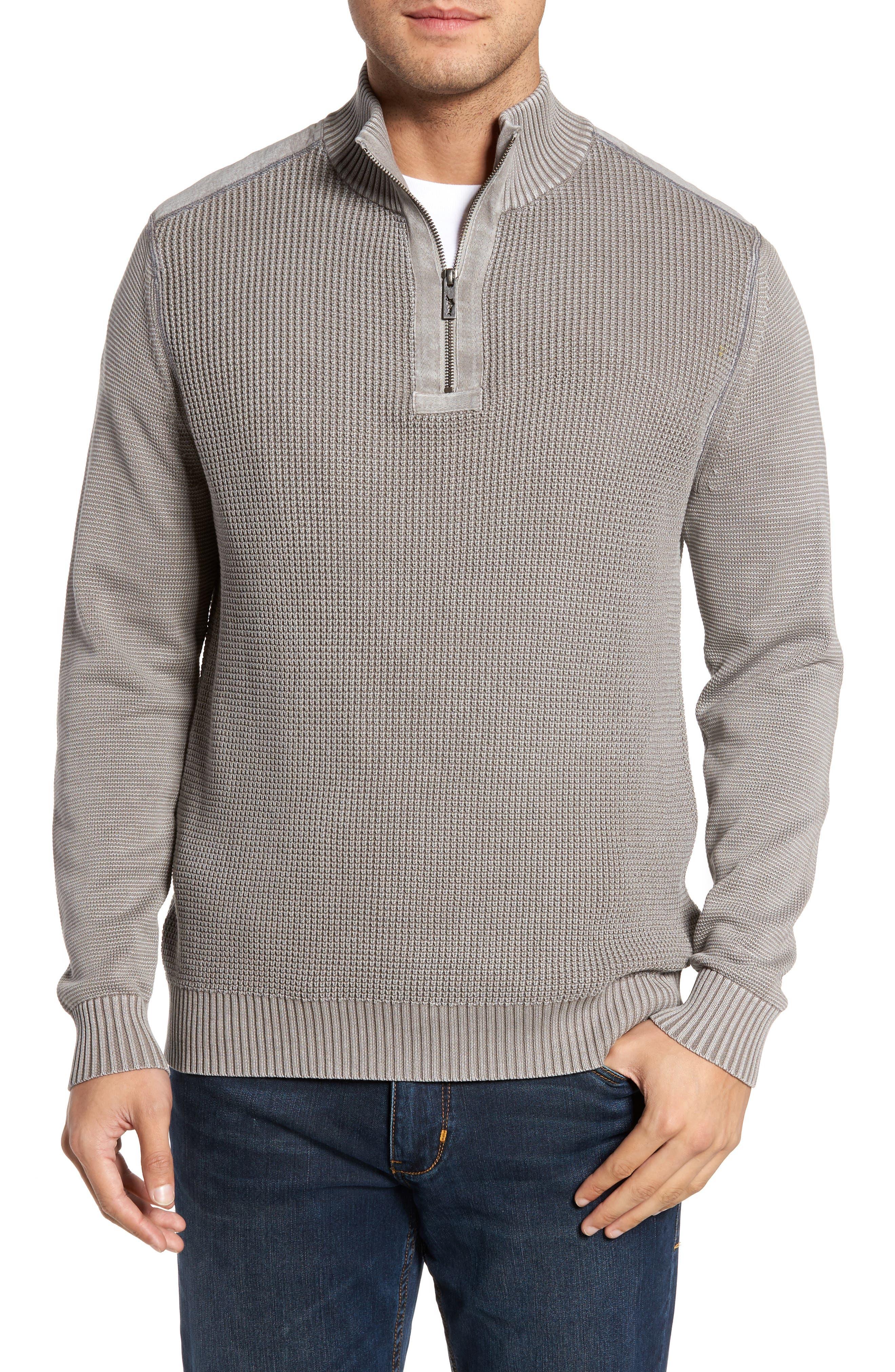 Coastal Shores Quarter Zip Sweater,                         Main,                         color, Pebble Grey