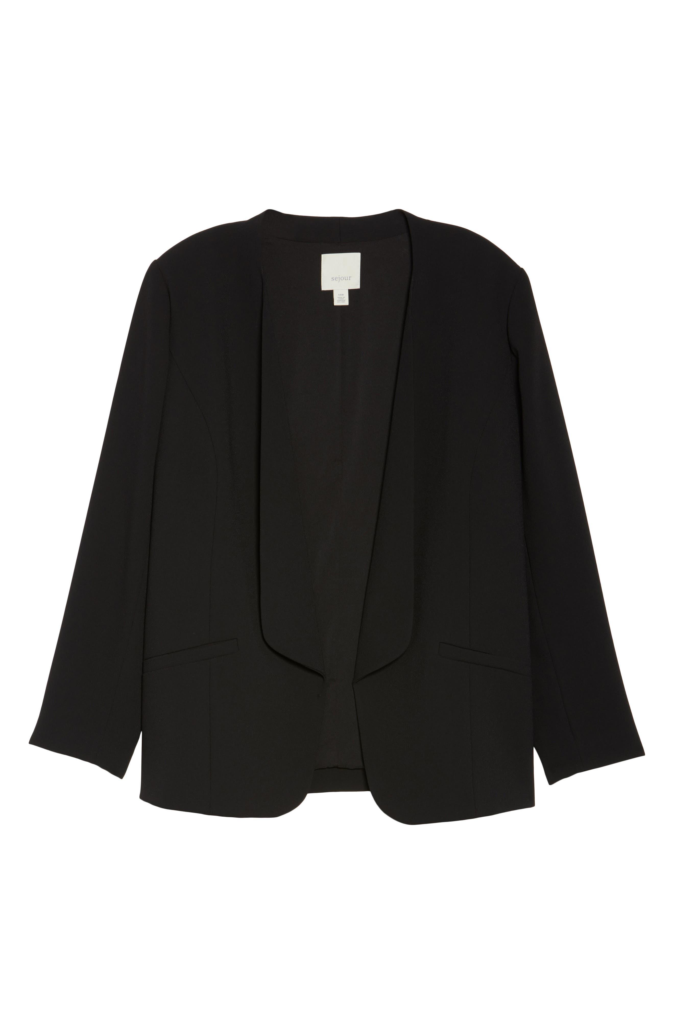 Alternate Image 6  - Sejour Drape Front Crepe Jacket (Plus Size)