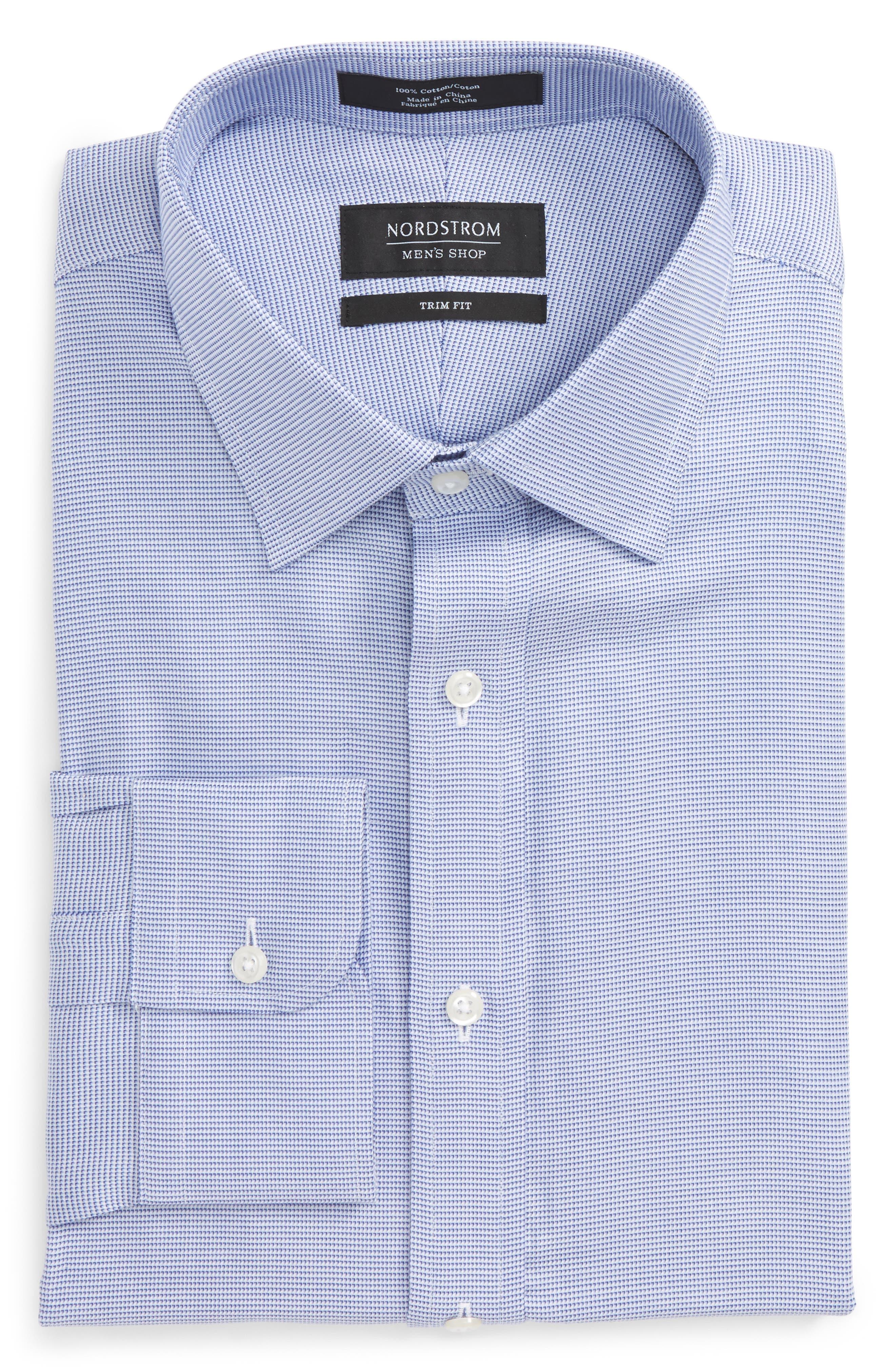 Trim Fit Solid Dress Shirt,                         Main,                         color, Blue Marine
