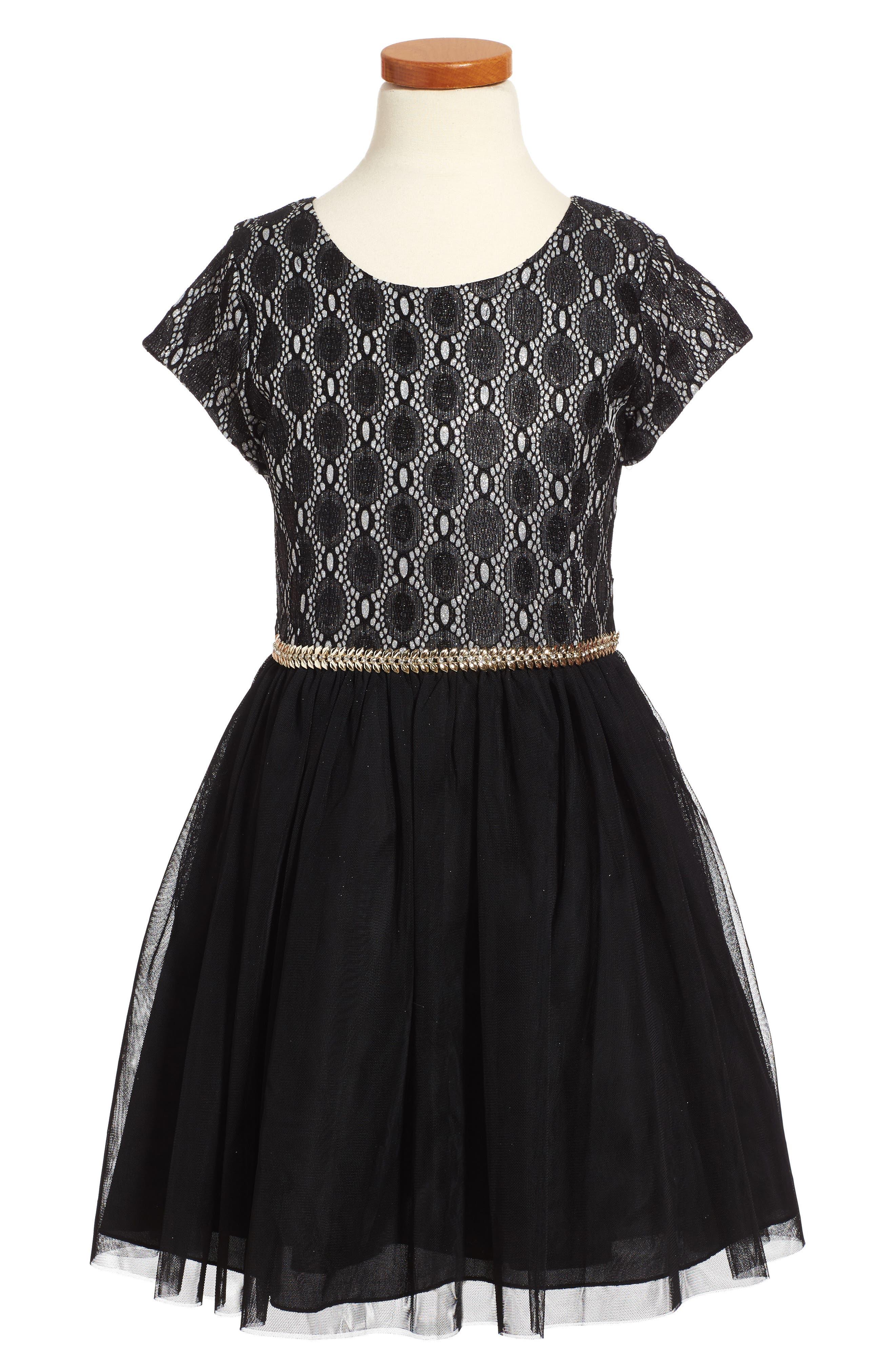 Glitter Lace Dress,                         Main,                         color, Black