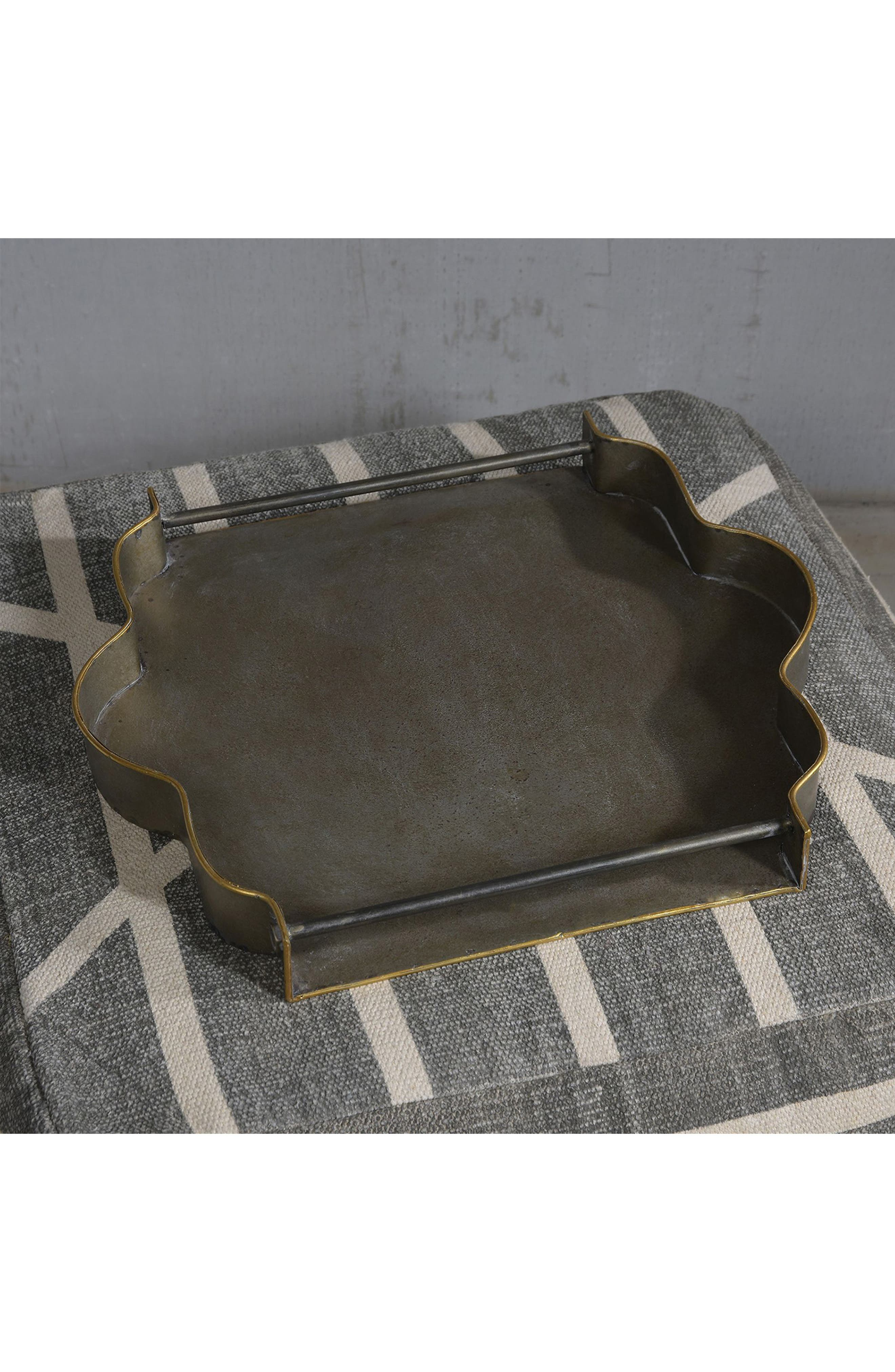 York Galvanized Tray,                             Alternate thumbnail 2, color,                             Galvanized With Gold Rim