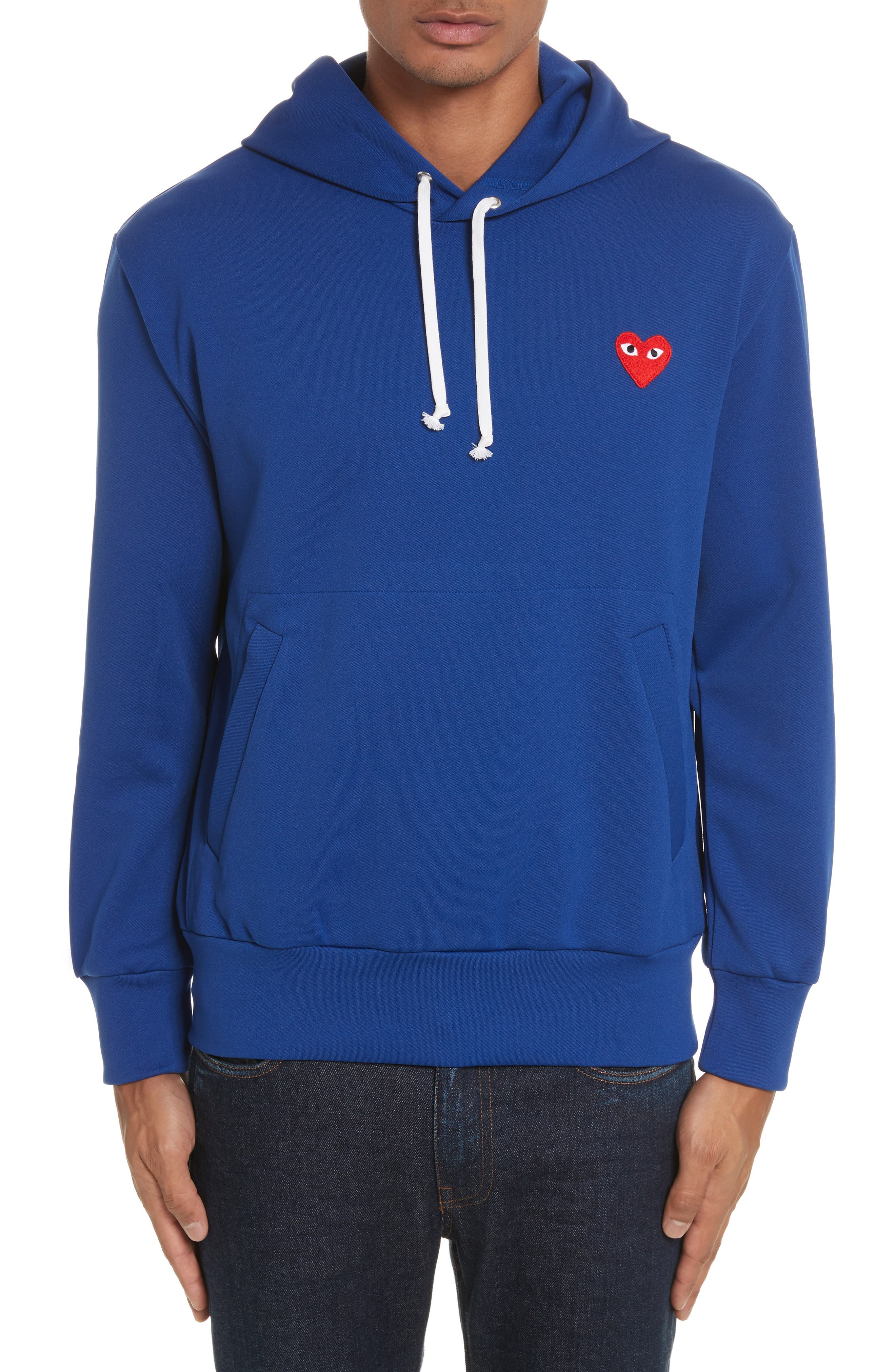 Comme des Garçons PLAY Pullover Hoodie,                             Main thumbnail 1, color,                             Navy