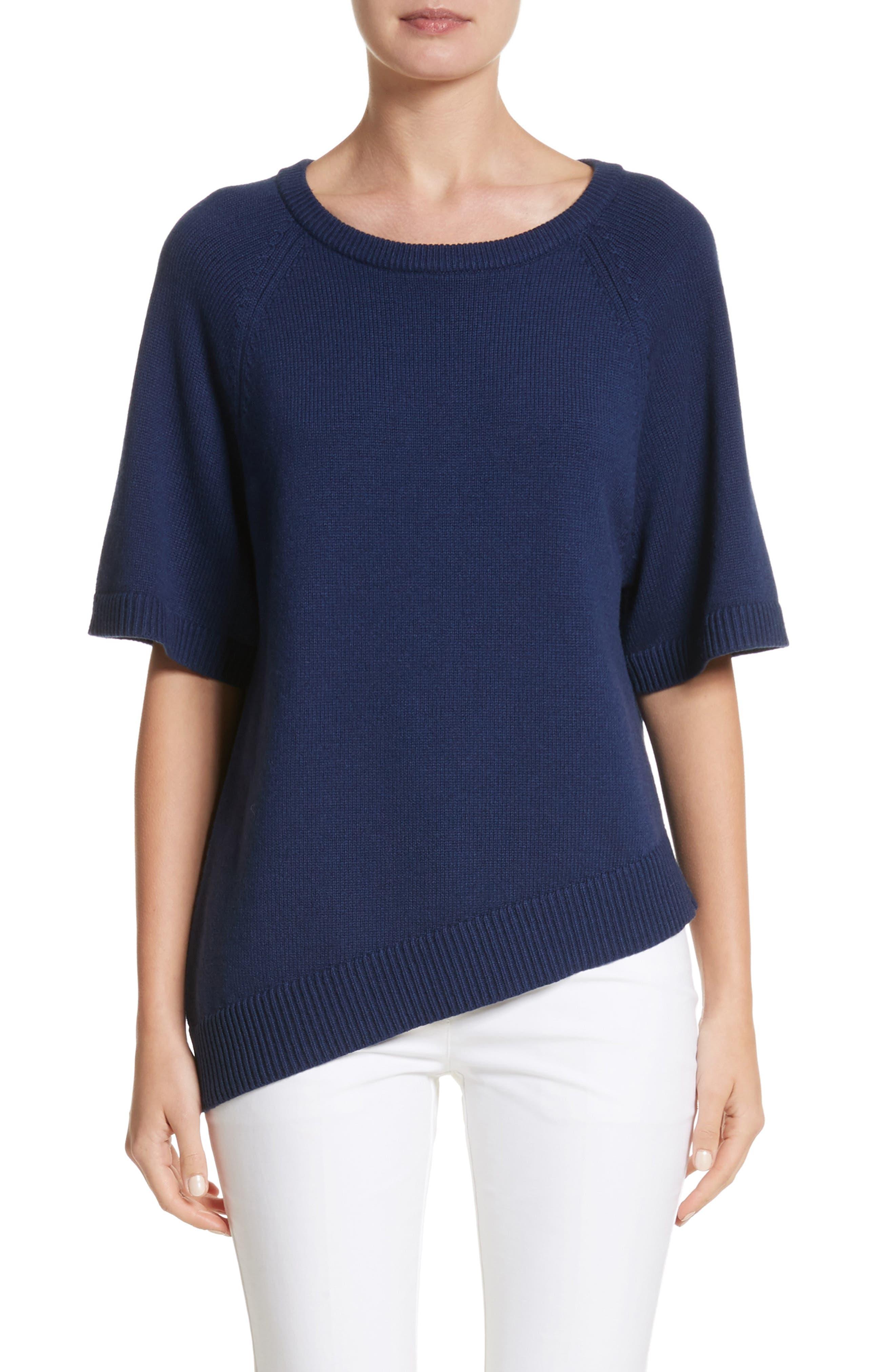 Asymmetrical Cashmere Pullover,                         Main,                         color, Sapphire