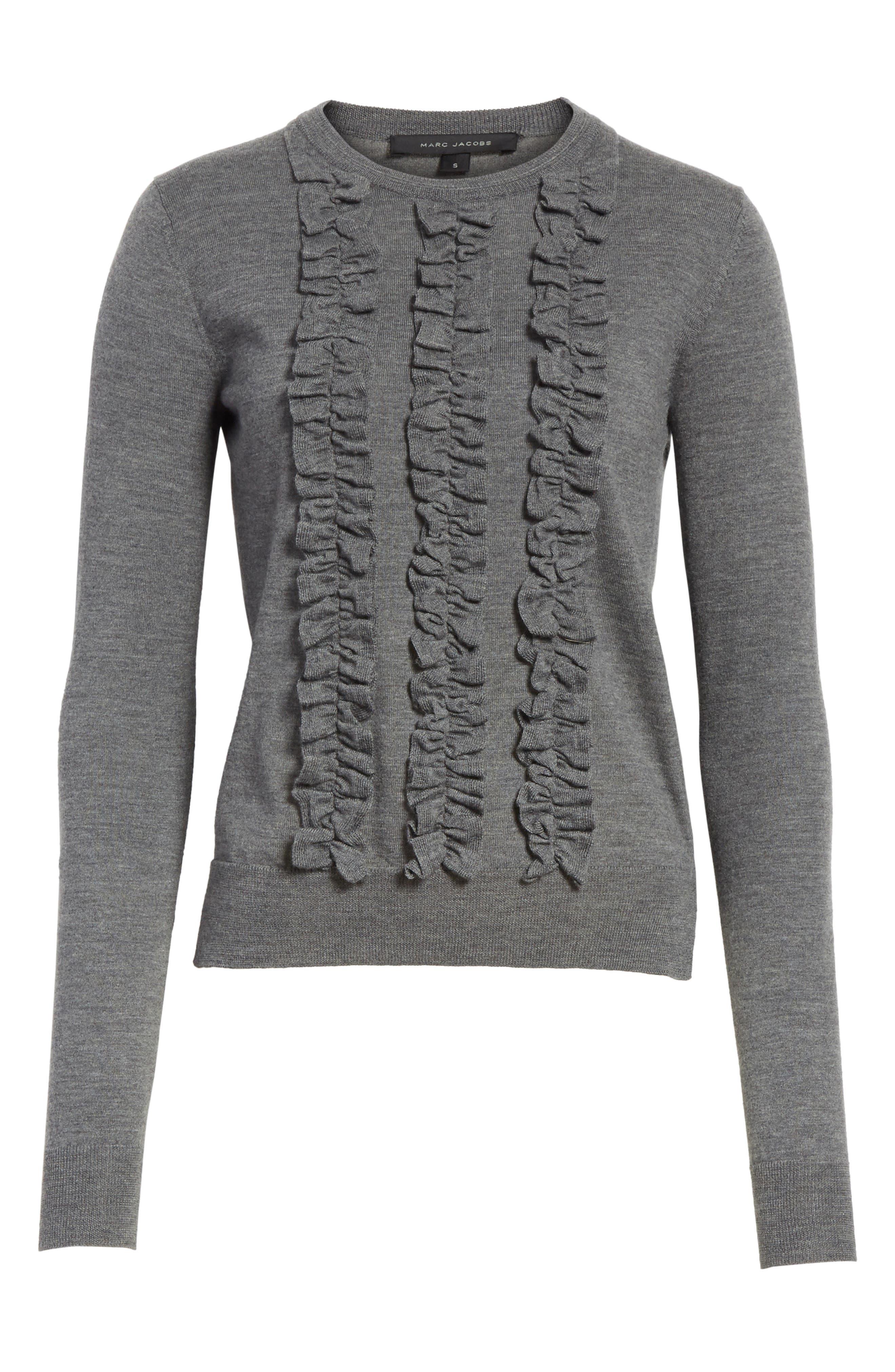 Ruffle Merino Wool Sweater,                             Alternate thumbnail 6, color,                             Dark Grey Melange