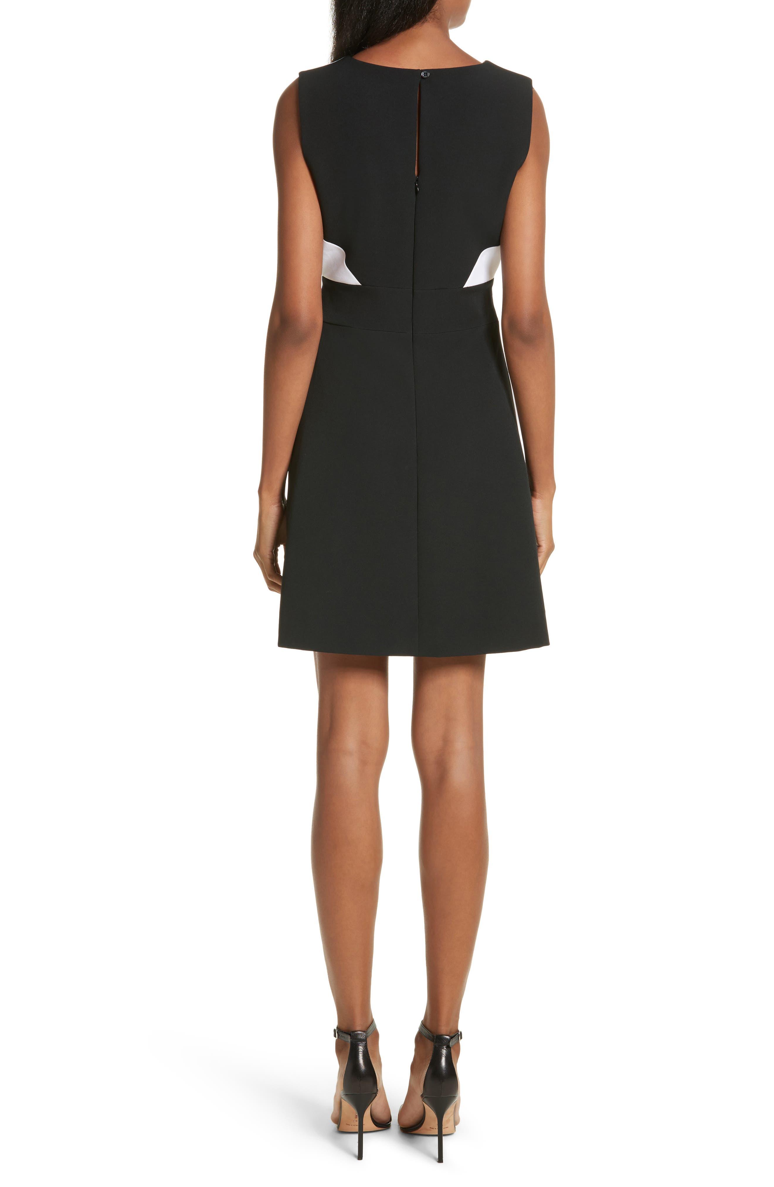 Jenny Stretch Crepe Fit & Flare Dress,                             Alternate thumbnail 2, color,                             White/ Black