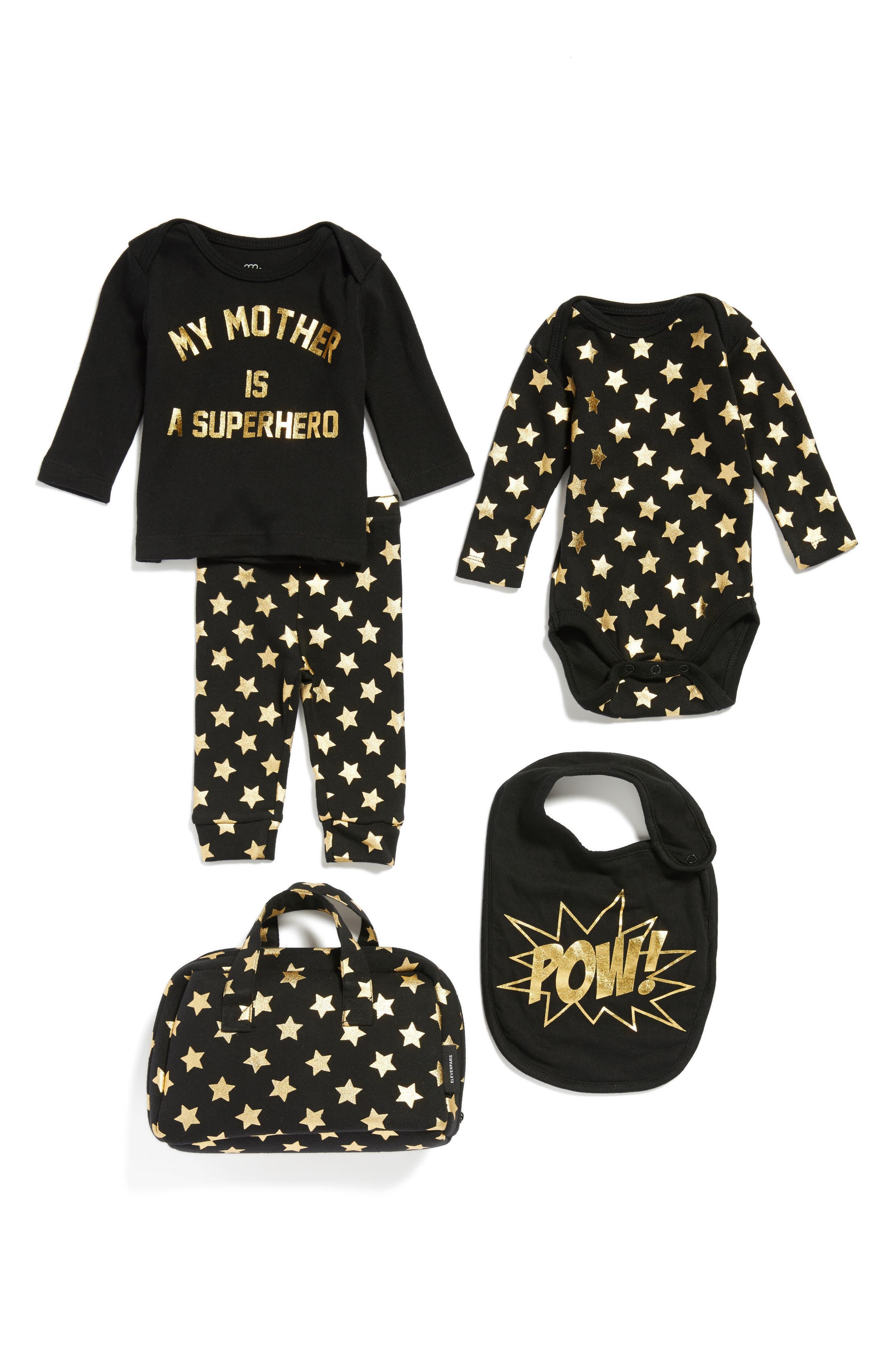 Little ELEVENPARIS My Mother Is A Superhero Tee, Pants, Bodysuit & Bib Set (Baby Girls)