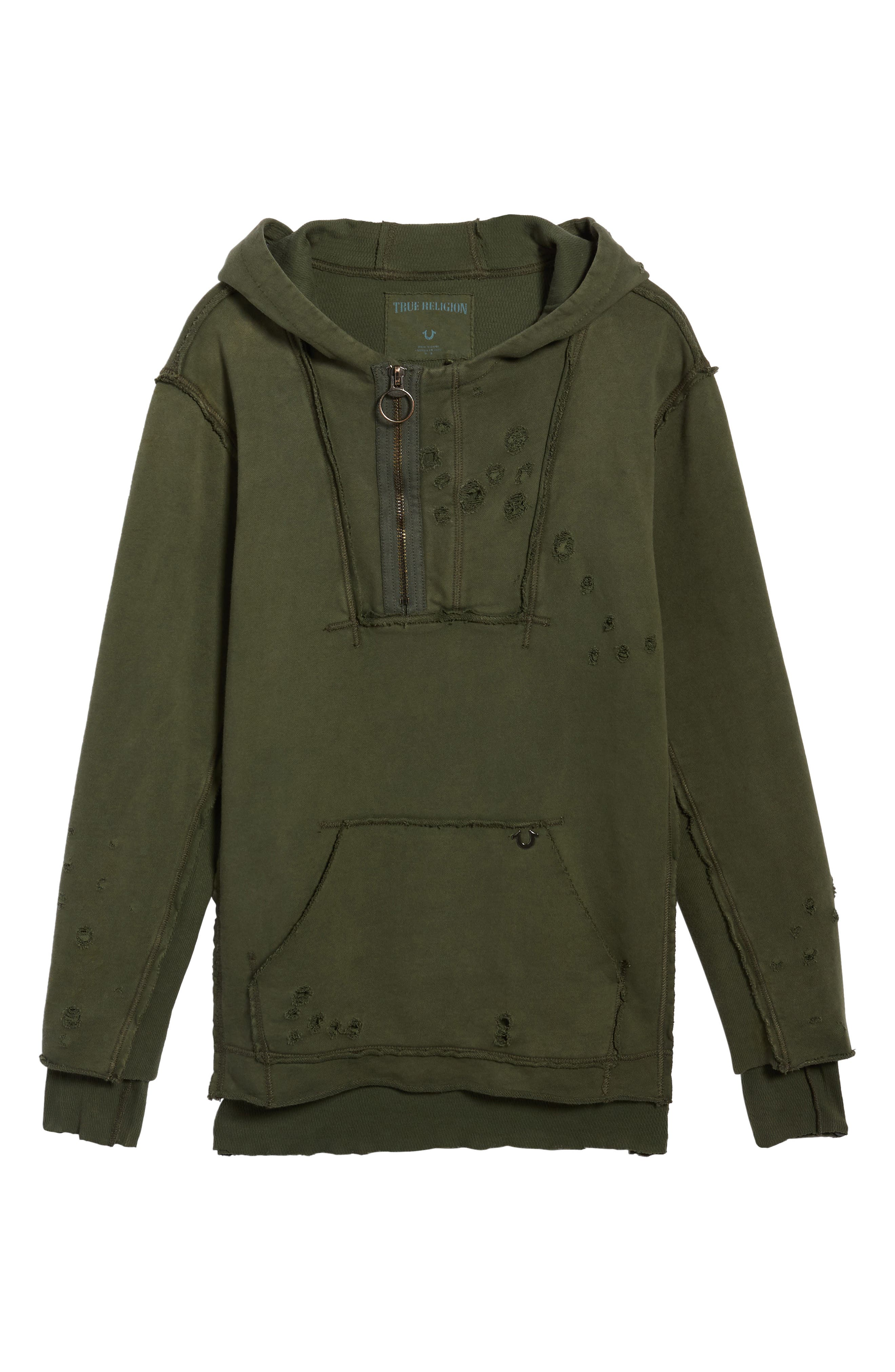 Distressed Pullover Hoodie,                             Alternate thumbnail 6, color,                             Militant Green